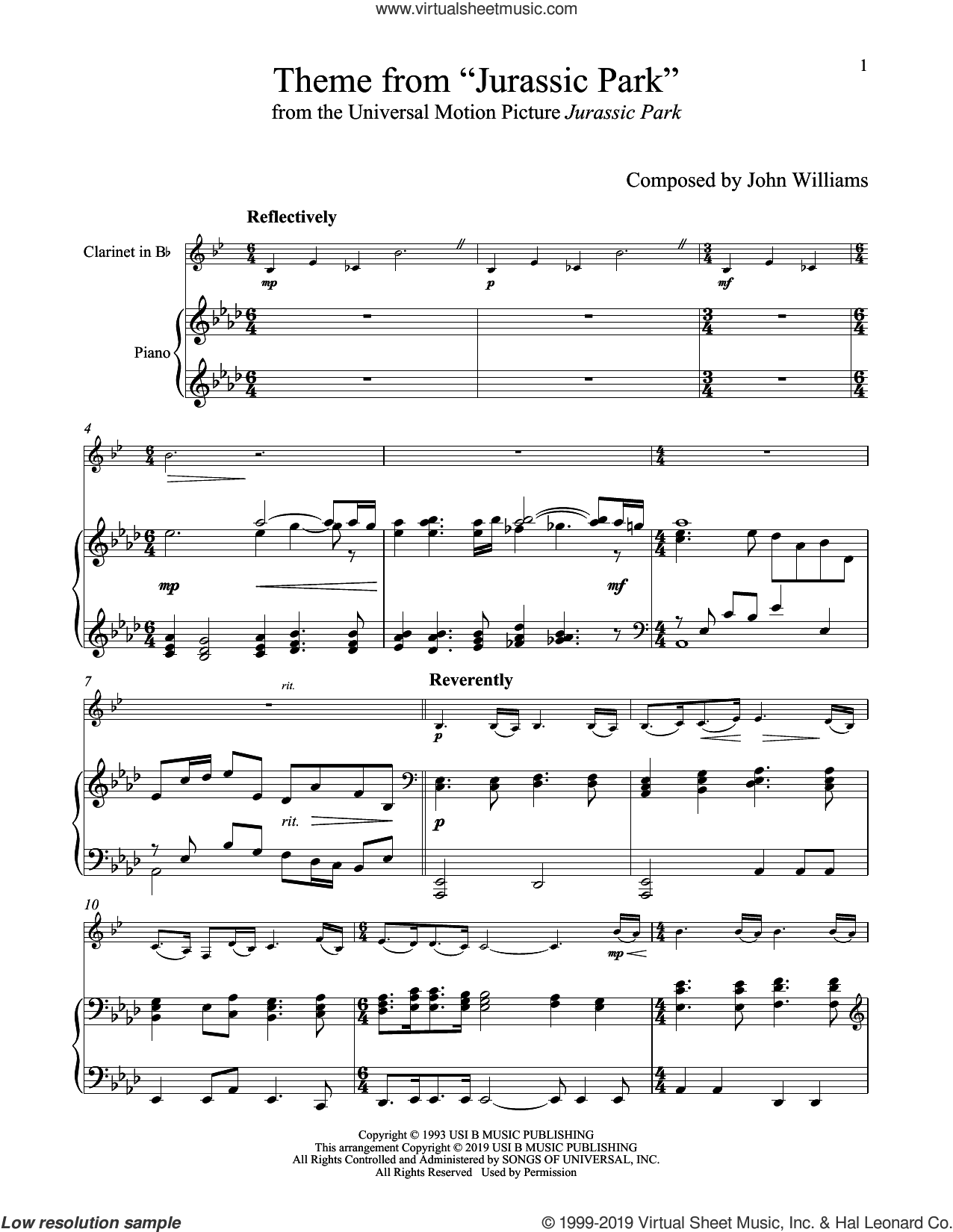 Theme From 'Jurassic Park' sheet music for clarinet and piano by John Williams, intermediate skill level