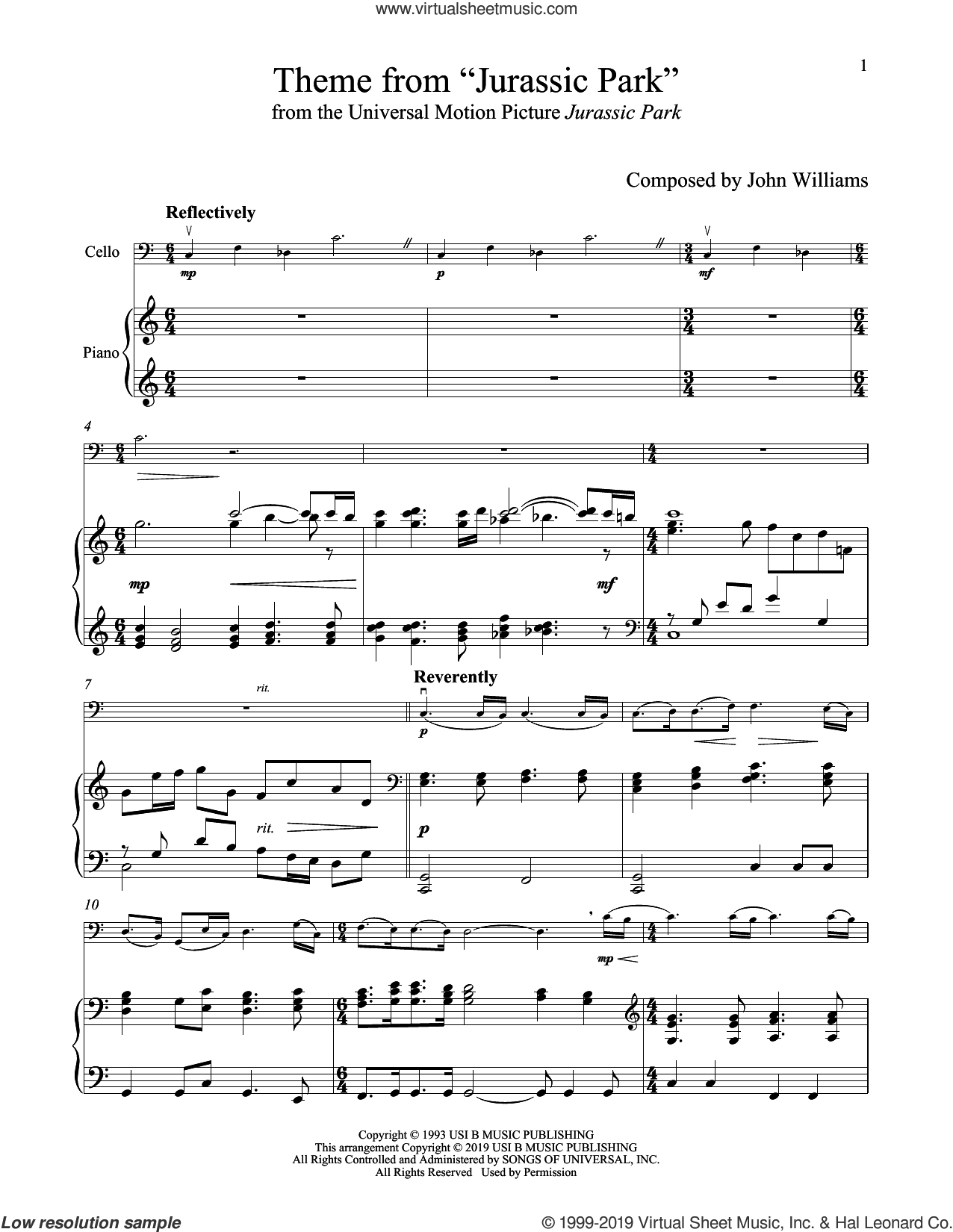 Theme From 'Jurassic Park' sheet music for cello and piano by John Williams, intermediate skill level