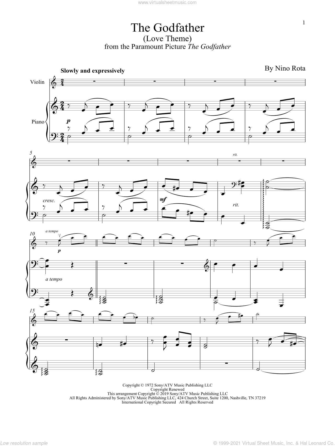 The Godfather (Love Theme) sheet music for violin and piano by Nino Rota, intermediate skill level