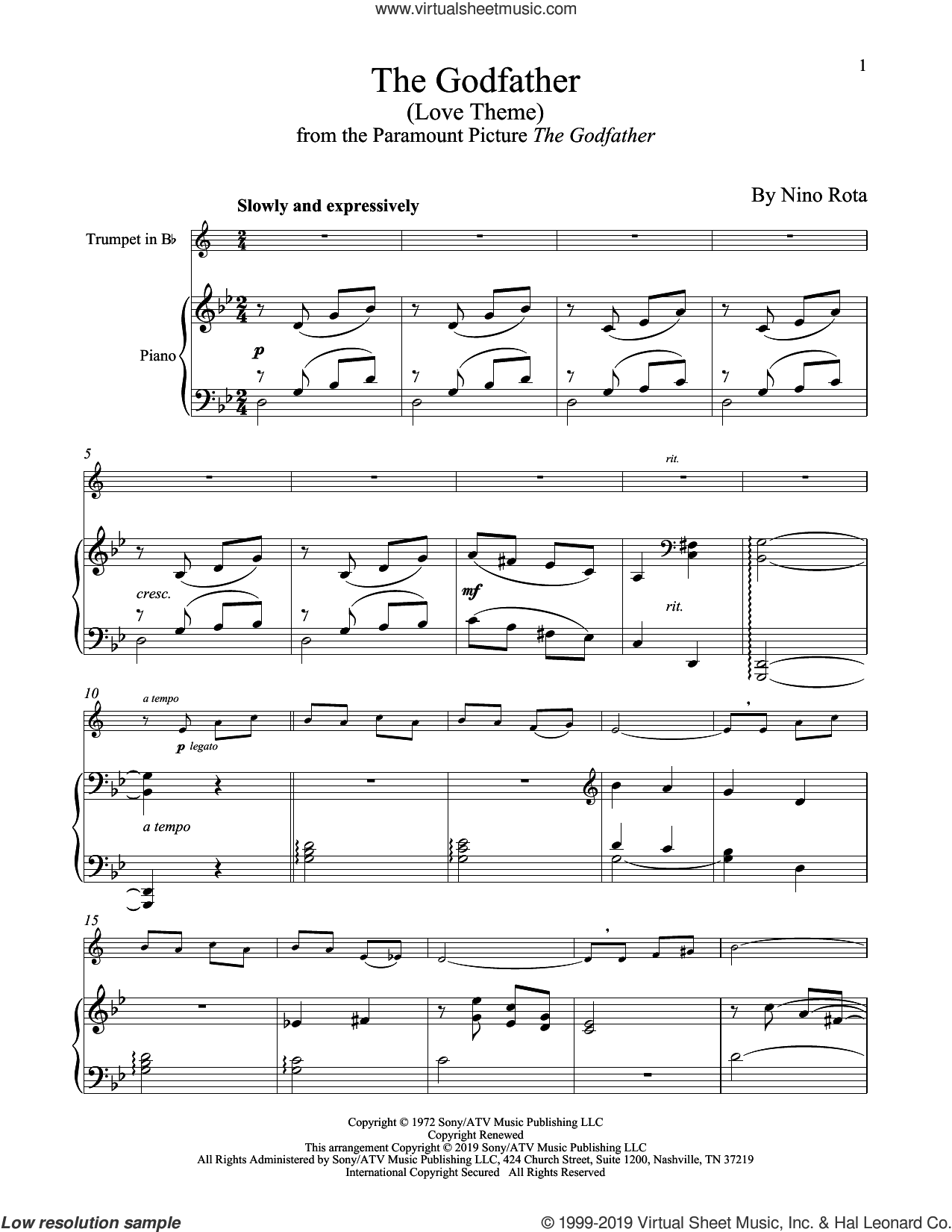 The Godfather (Love Theme) sheet music for trumpet and piano by Nino Rota, intermediate skill level