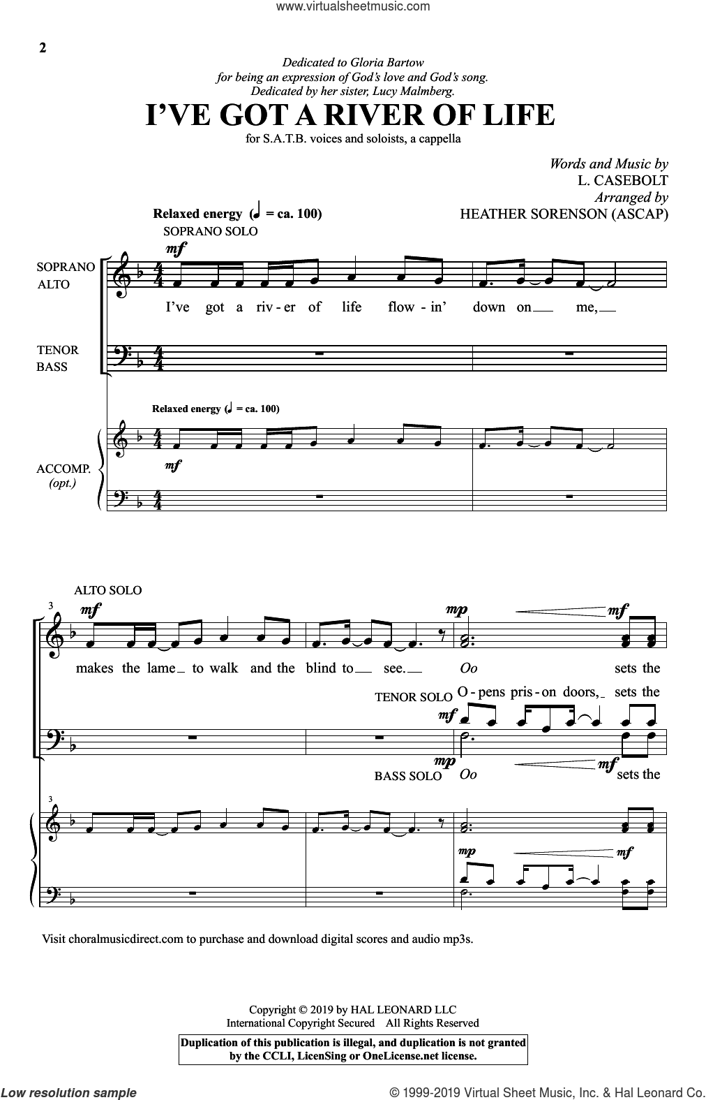 I've Got A River Of Life (arr. Heather Sorenson) sheet music for choir (SATB: soprano, alto, tenor, bass) by L. Casebolt and Heather Sorenson, intermediate skill level