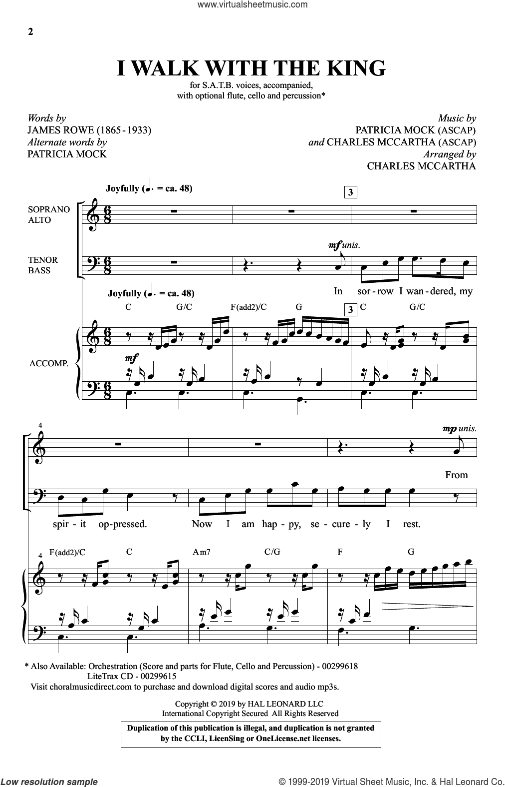 I Walk With The King sheet music for choir (SATB: soprano, alto, tenor, bass) by Patricia Mock, Charles McCartha, James Rowe and James Rowe, Patricia Mock and Charles McCartha, intermediate skill level