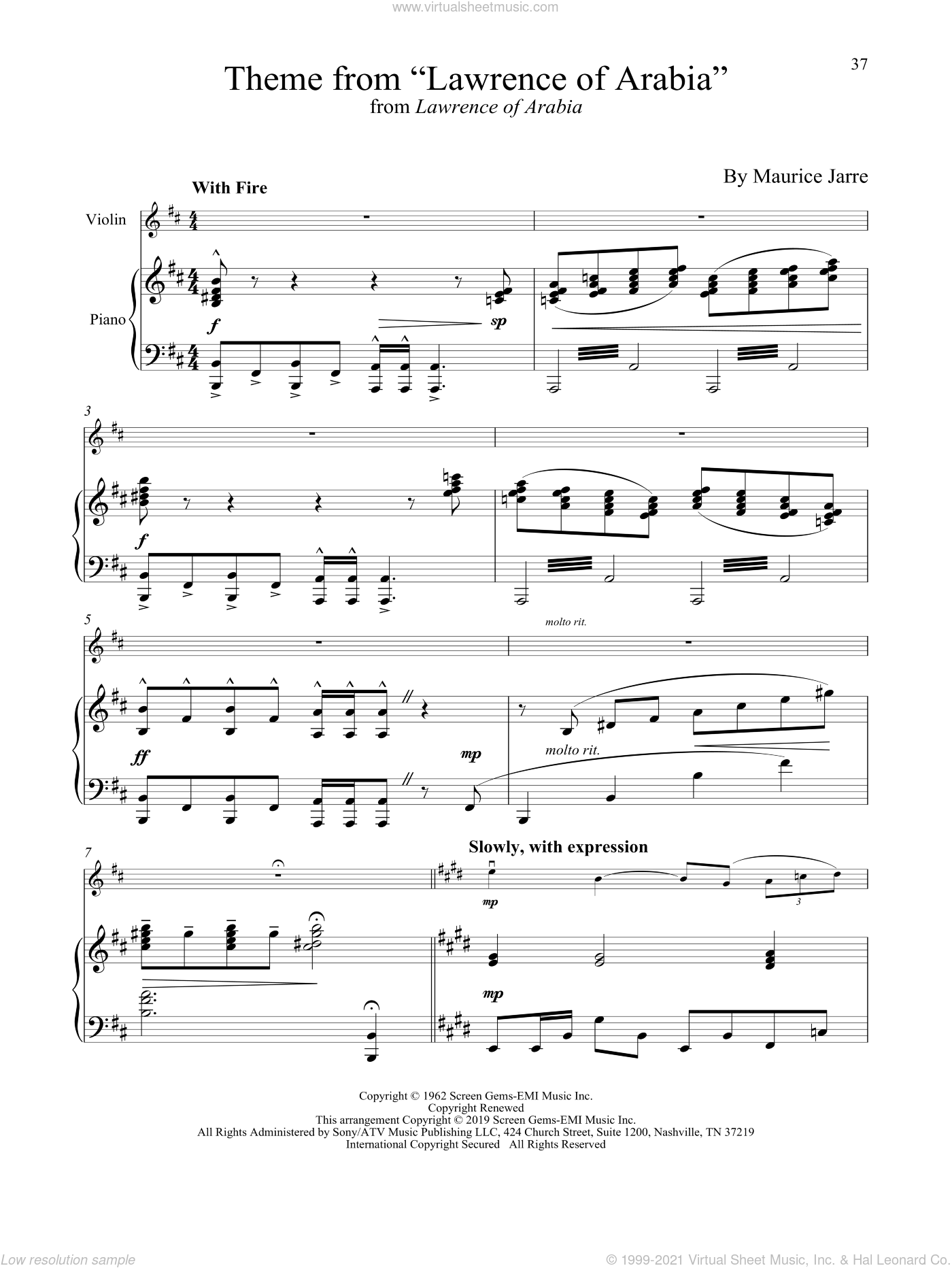 Theme From 'Lawrence Of Arabia' sheet music for violin and piano by Maurice Jarre, intermediate skill level