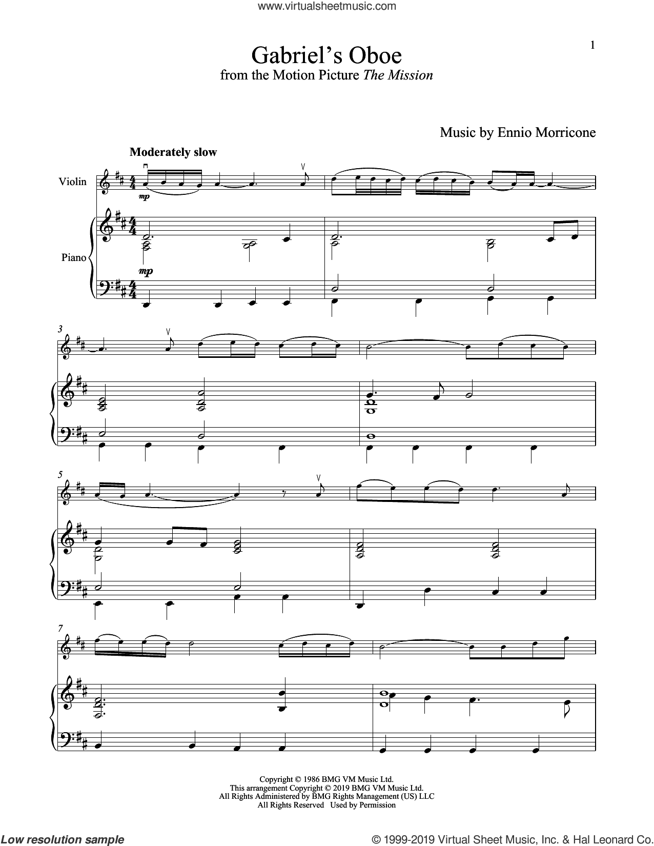 Gabriel's Oboe (from The Mission) sheet music for violin and piano by Ennio Morricone, wedding score, intermediate skill level