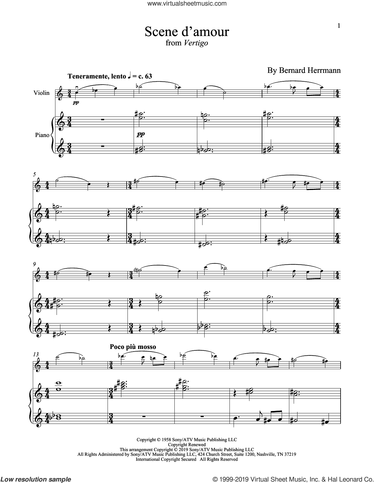 Scene D'Amour (from Vertigo) sheet music for violin and piano by Bernard Hermann, intermediate skill level