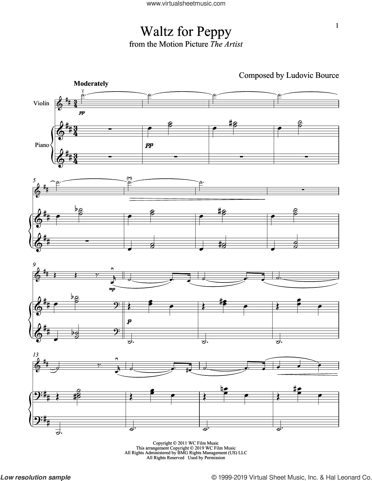 Waltz For Peppy (from The Artist) sheet music for violin and piano by Ludovic Bource, intermediate skill level