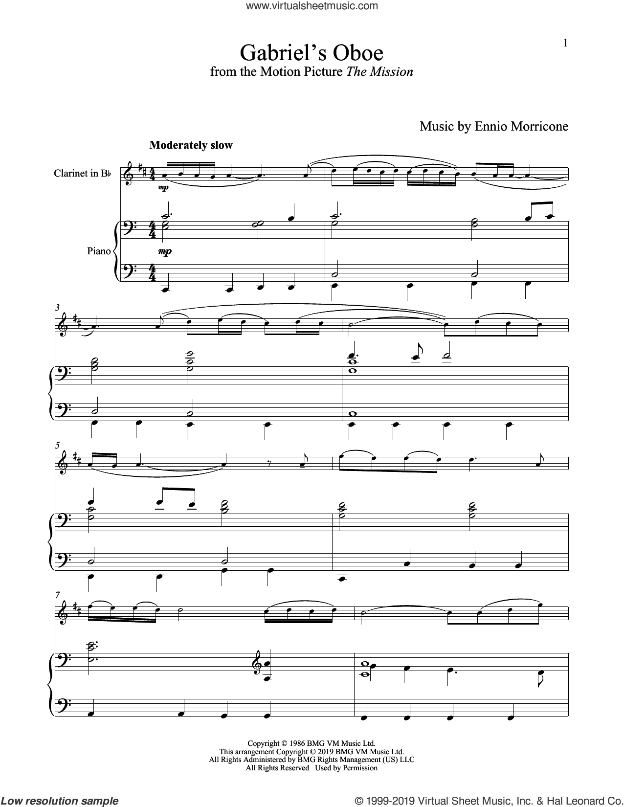 Gabriel's Oboe (from The Mission) sheet music for clarinet and piano by Ennio Morricone, wedding score, intermediate skill level