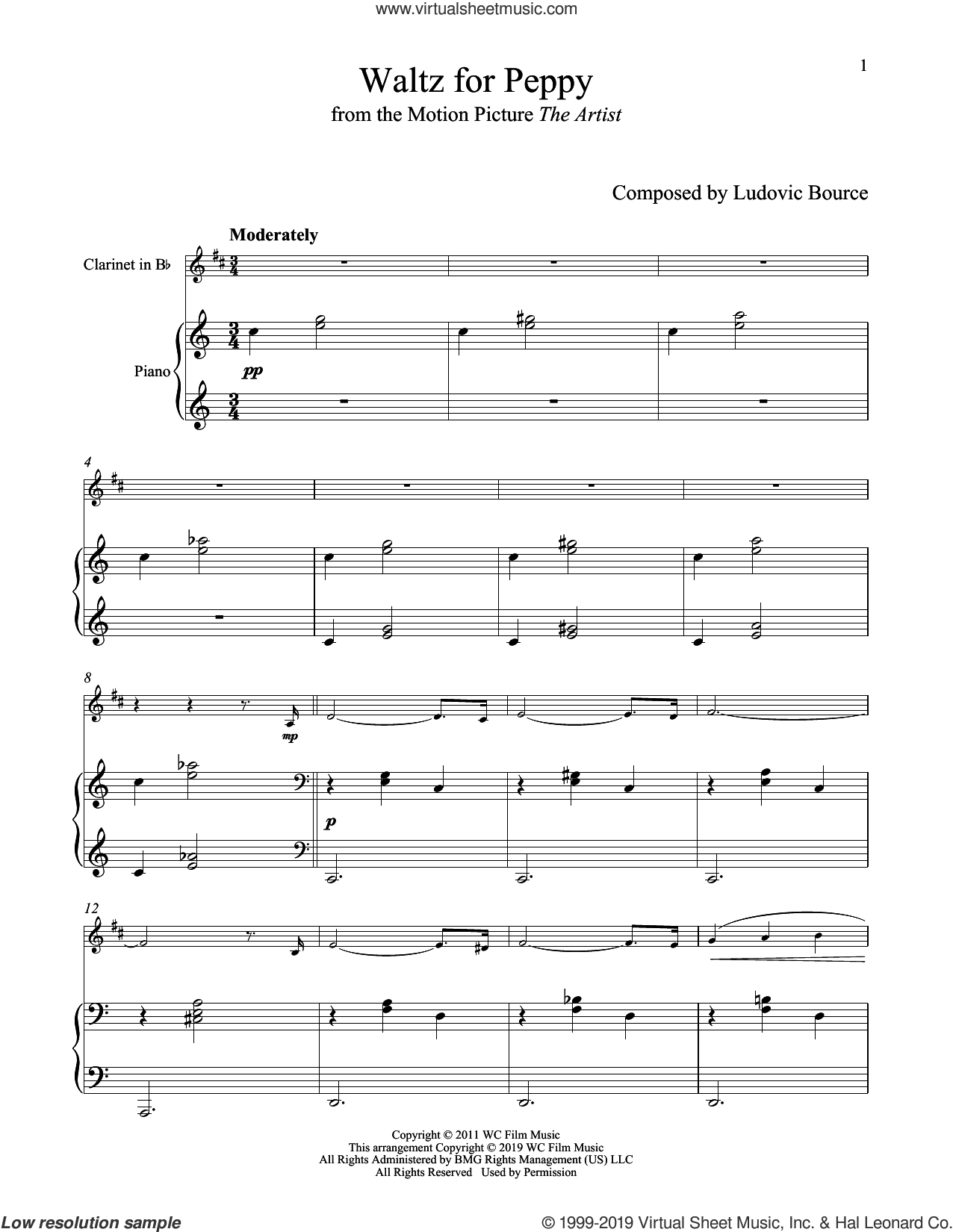 Waltz For Peppy (from The Artist) sheet music for clarinet and piano by Ludovic Bource, intermediate skill level