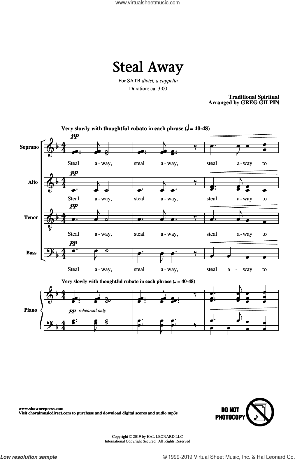 Steal Away (arr. Greg Gilpin) sheet music for choir (SATB: soprano, alto, tenor, bass)  and Greg Gilpin, intermediate skill level