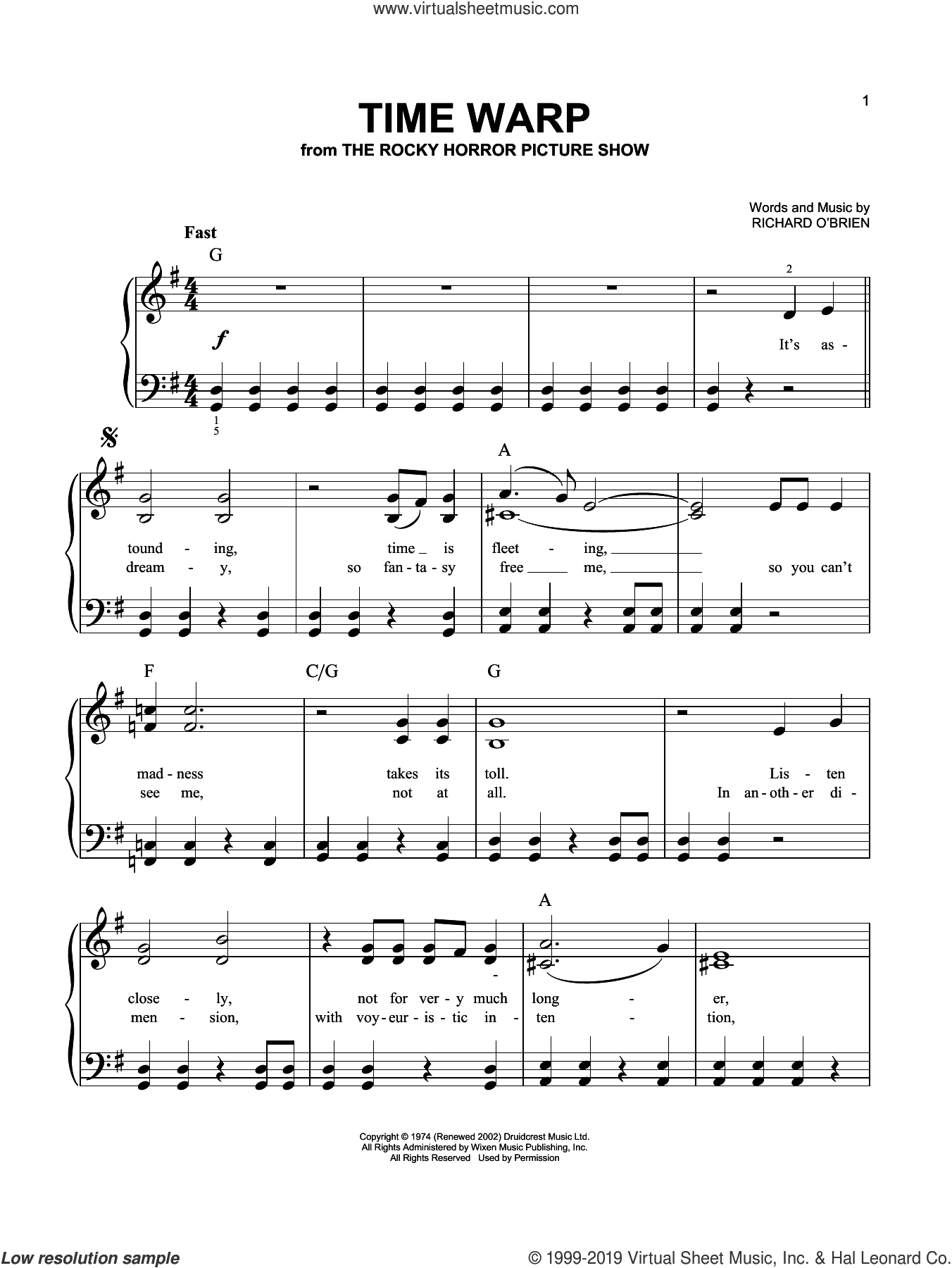 Time Warp (from The Rocky Horror Picture Show) sheet music for piano solo by Richard O'Brien, easy skill level