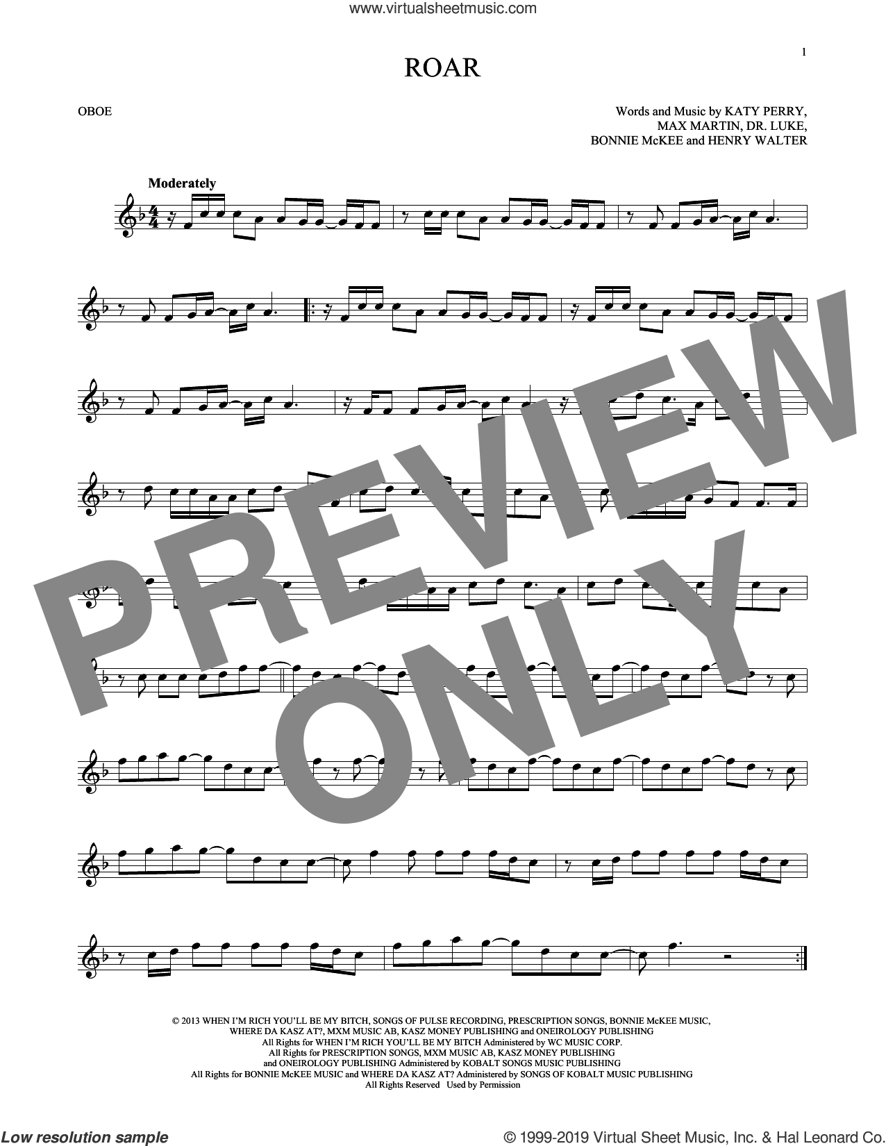 Roar sheet music for oboe solo by Katy Perry, Bonnie McKee, Dr. Luke, Henry Walter, Lukasz Gottwald and Max Martin, intermediate skill level