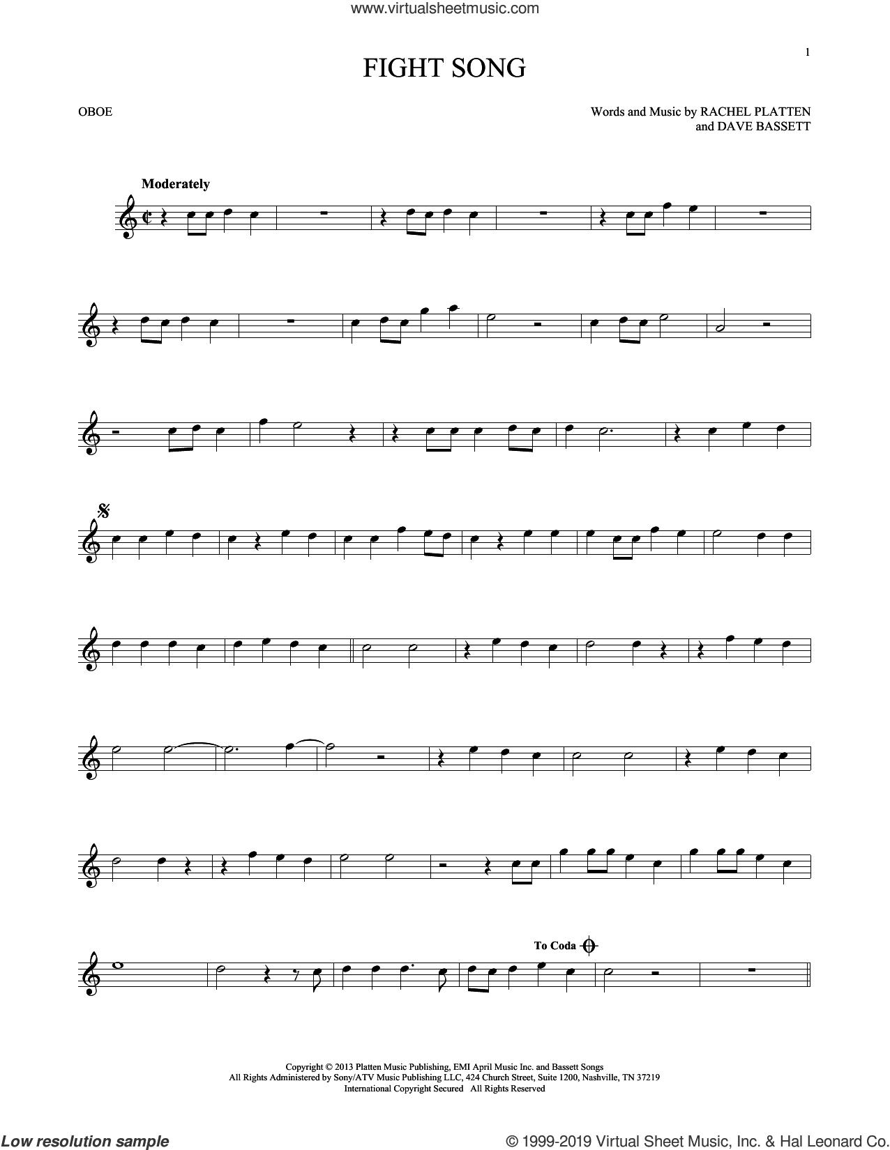 Fight Song sheet music for oboe solo by Rachel Platten and Dave Bassett, intermediate skill level