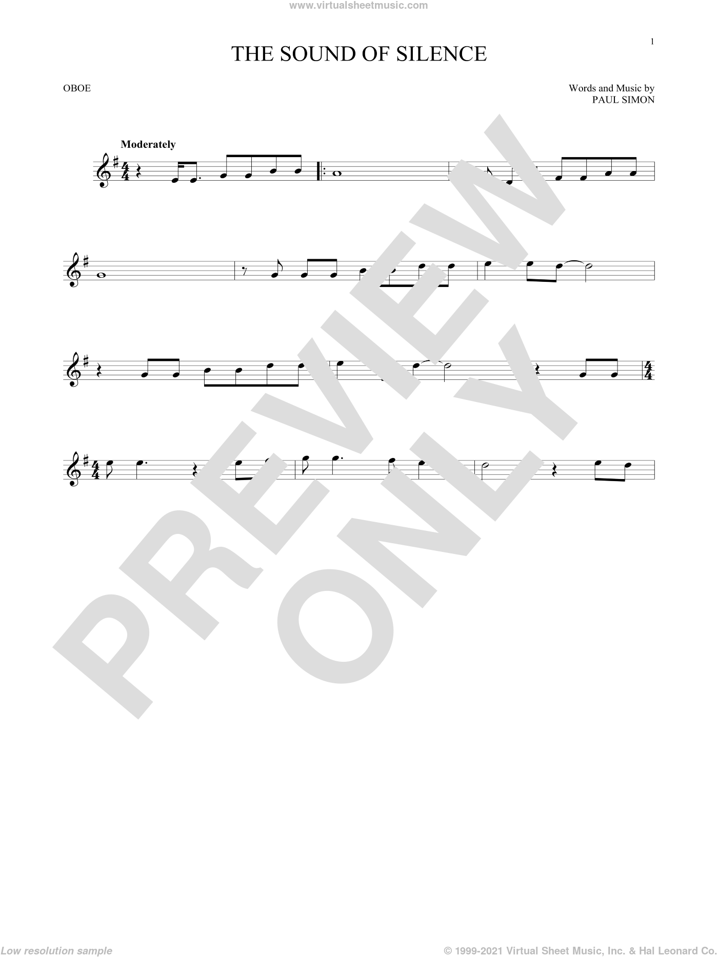 The Sound Of Silence sheet music for oboe solo by Simon & Garfunkel and Paul Simon, intermediate skill level