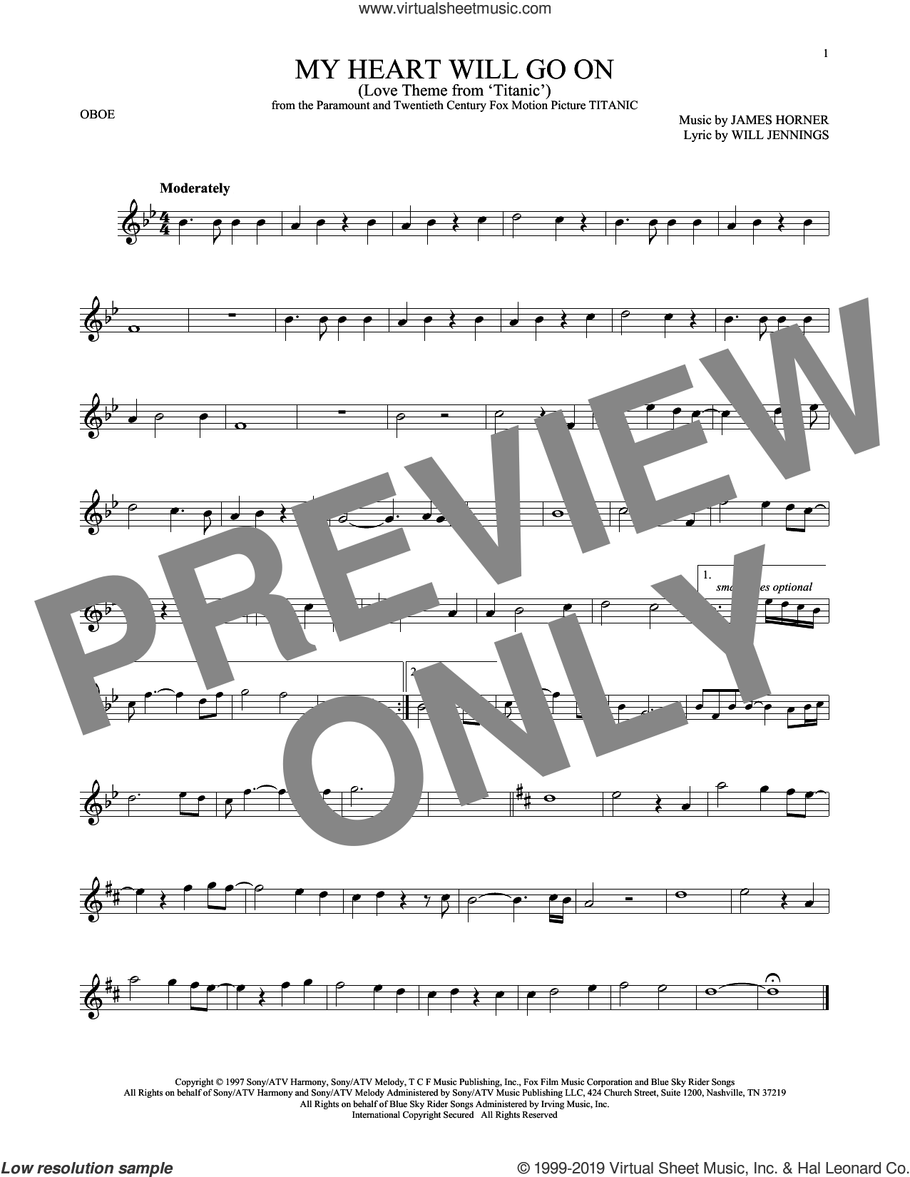 My Heart Will Go On (Love Theme from Titanic) sheet music for oboe solo by Celine Dion, James Horner and Will Jennings, intermediate skill level