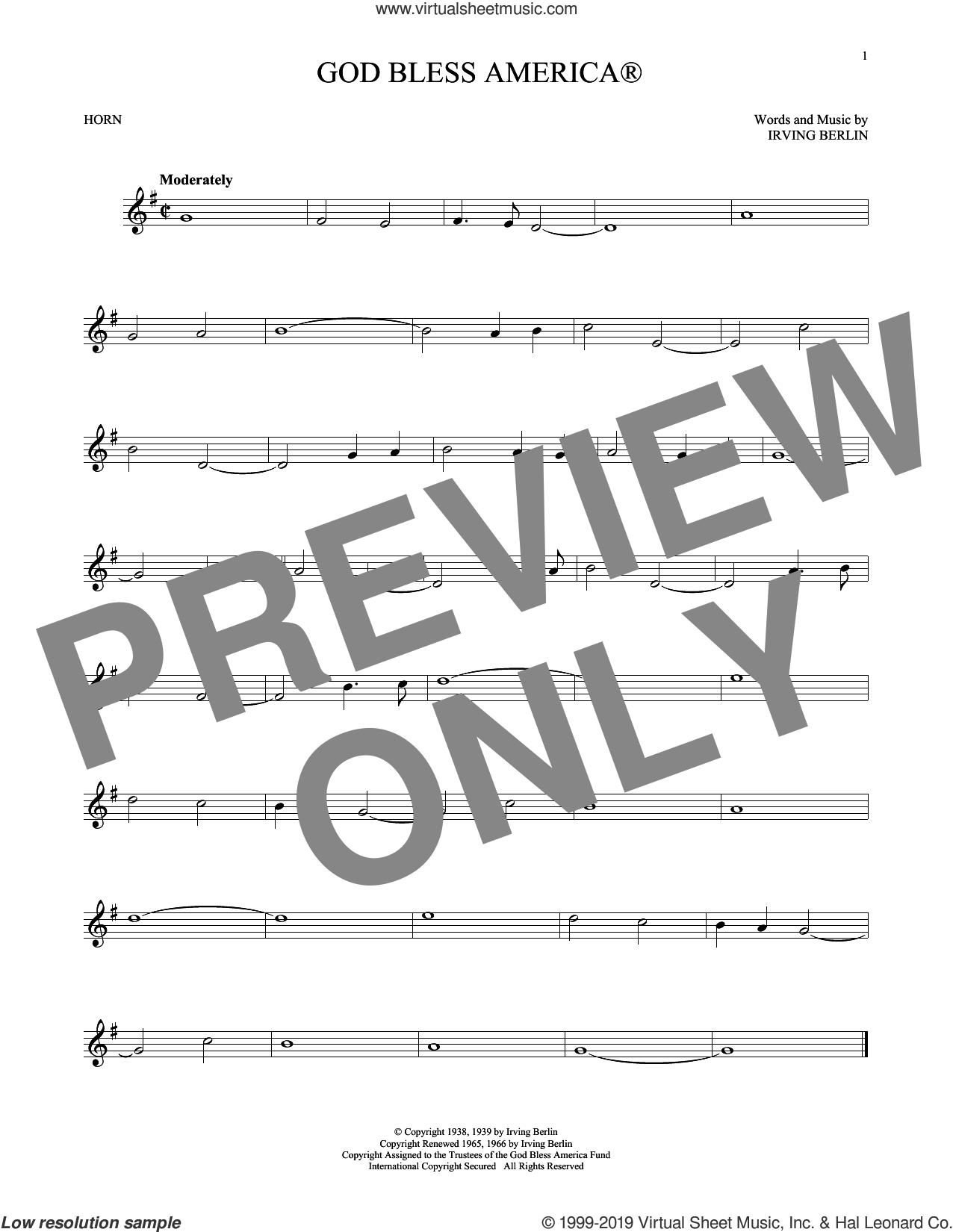 God Bless America sheet music for horn solo by Irving Berlin, intermediate skill level