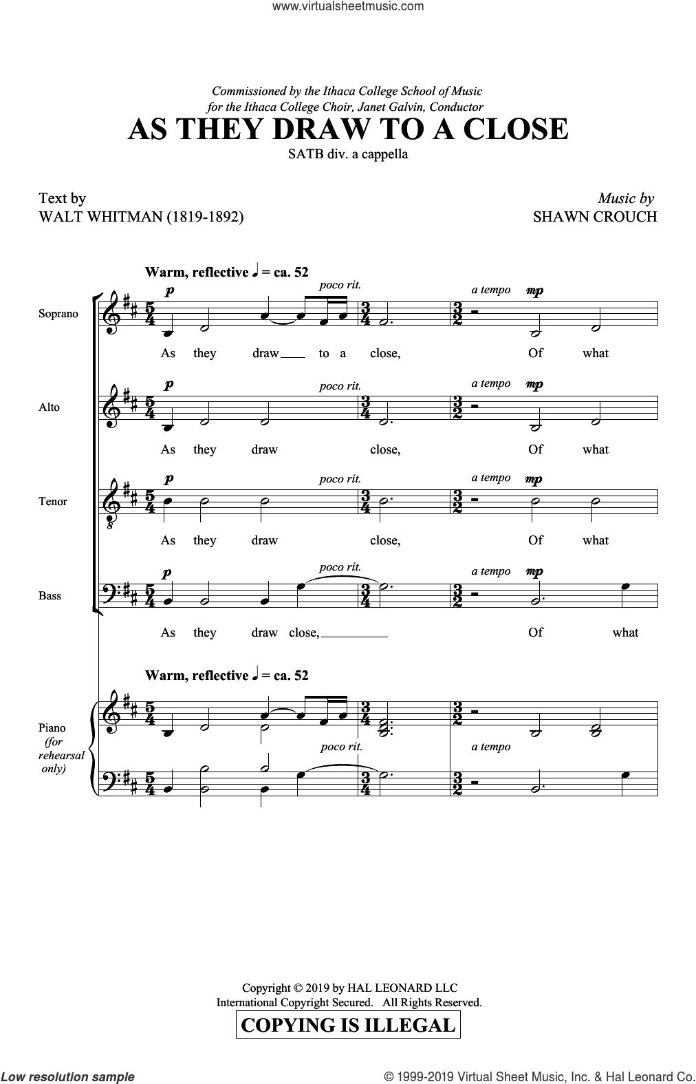 As They Draw To A Close sheet music for choir (SATB: soprano, alto, tenor, bass) by Shawn Crouch and Walt Whitman, intermediate skill level