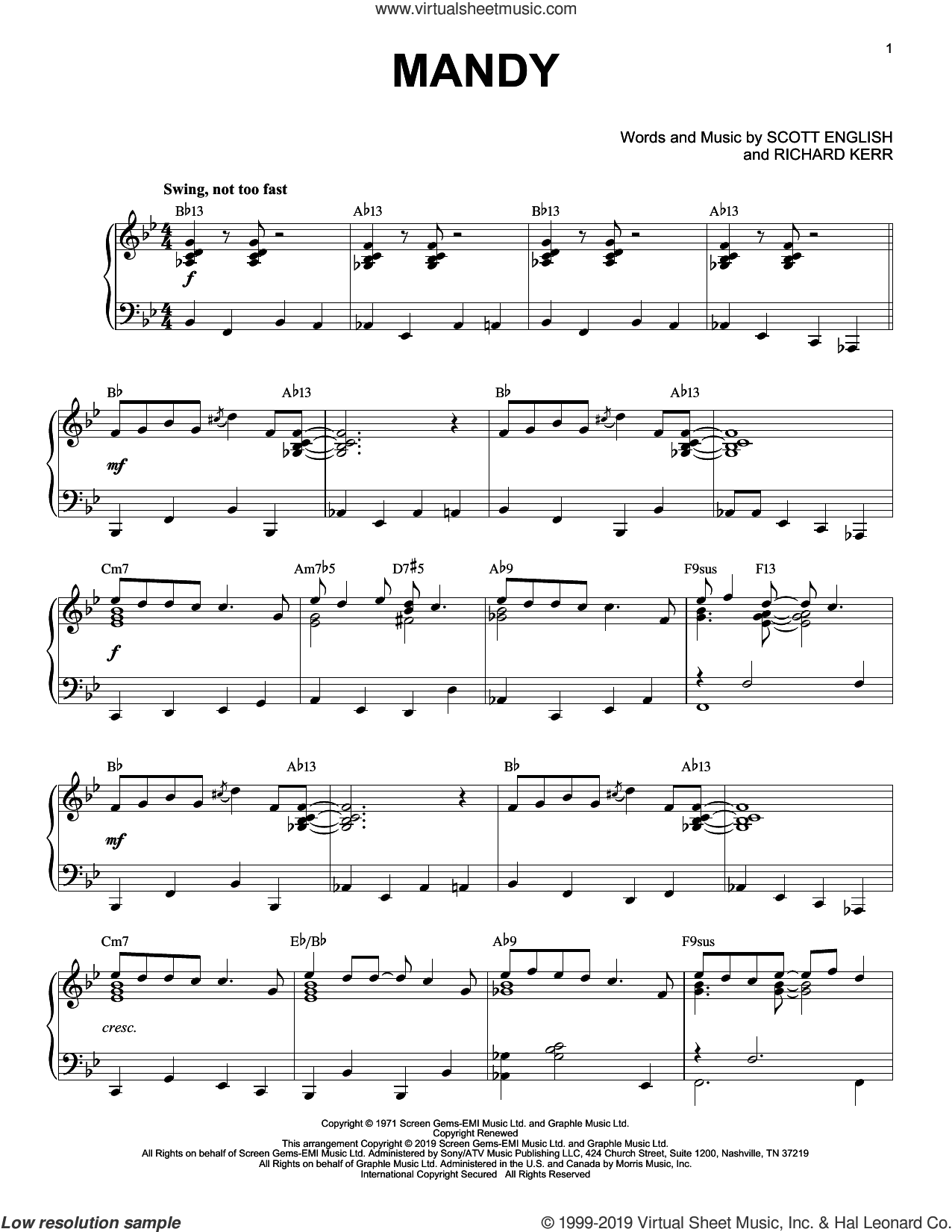 Mandy [Jazz version] sheet music for piano solo by Barry Manilow, Richard Kerr and Scott English, intermediate skill level