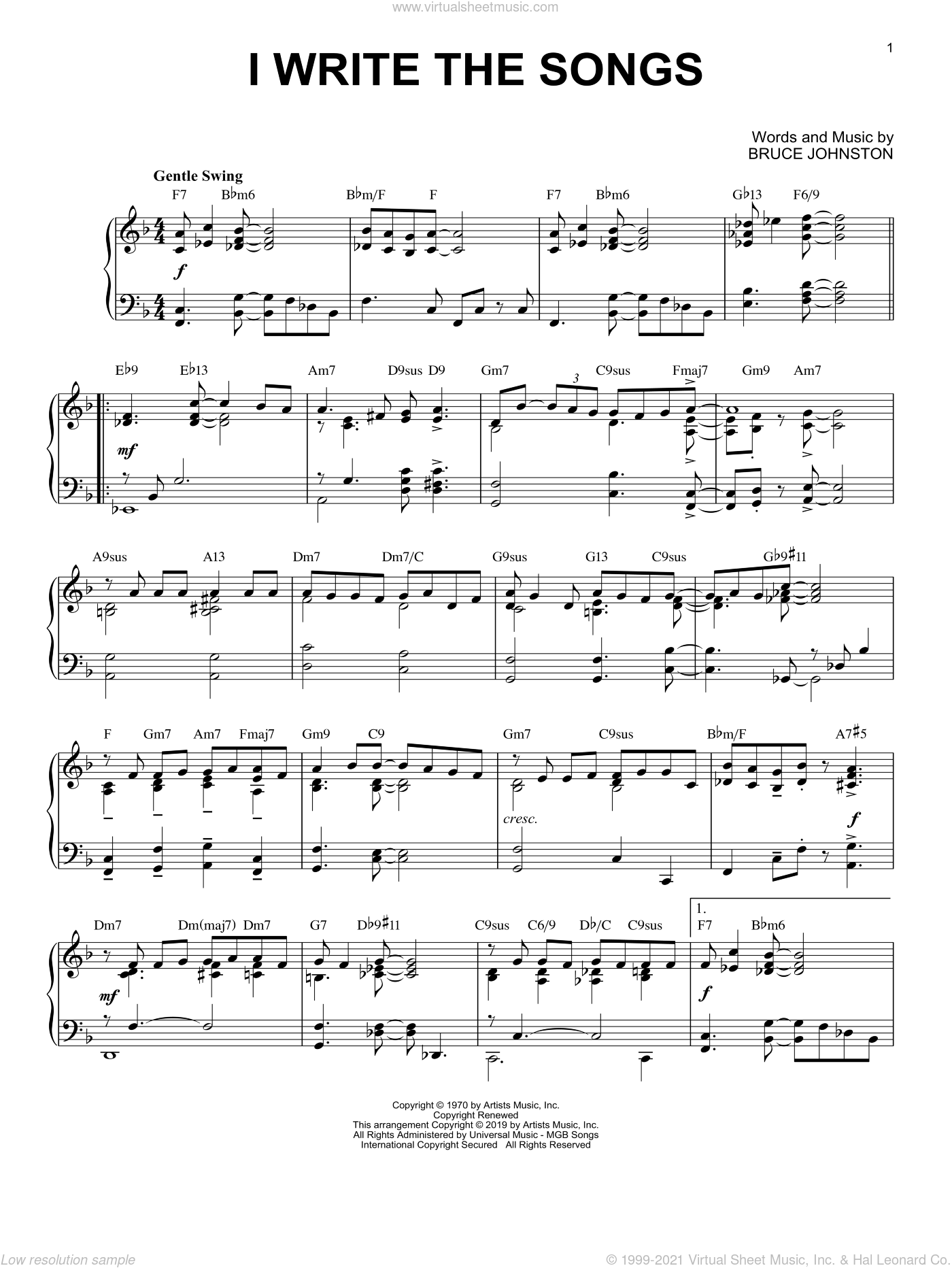 I Write The Songs [Jazz version] sheet music for piano solo by Barry Manilow and Bruce Johnston, intermediate skill level