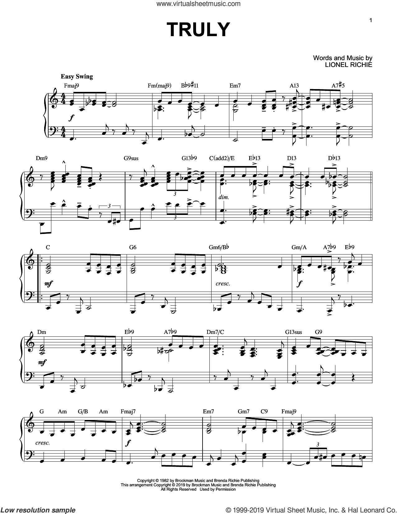 Truly [Jazz version] sheet music for piano solo by Lionel Richie, intermediate skill level