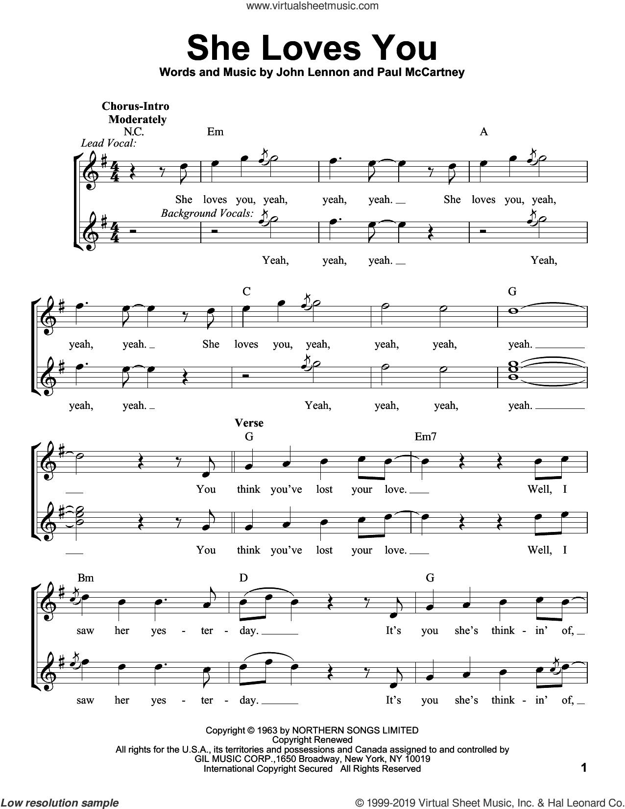 She Loves You sheet music for voice solo by The Beatles, John Lennon and Paul McCartney, intermediate skill level