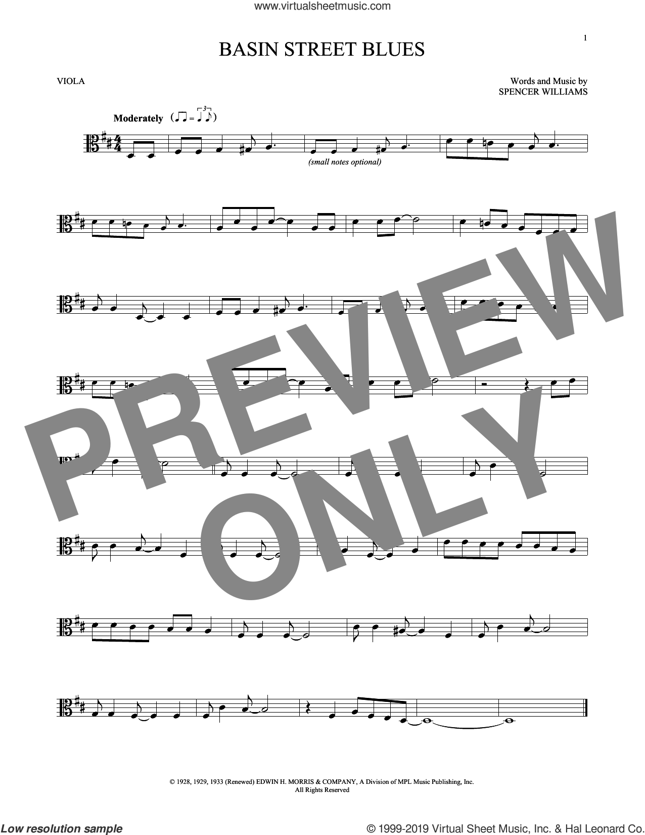 Basin Street Blues sheet music for viola solo by Spencer Williams, intermediate skill level