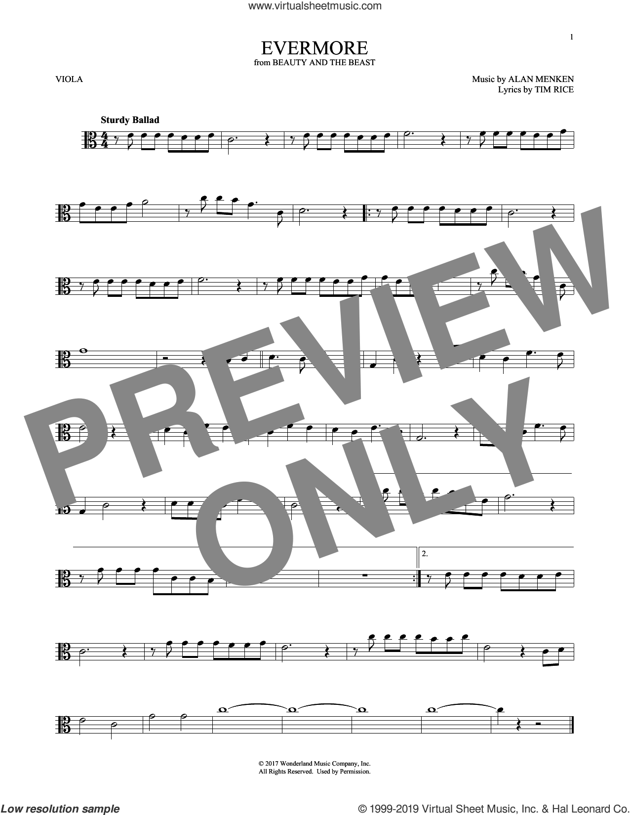 Evermore (from Beauty and The Beast) sheet music for viola solo by Alan Menken and Tim Rice, intermediate skill level