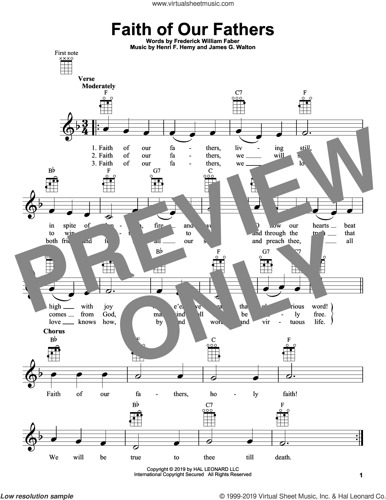 Faith Of Our Fathers sheet music for ukulele by Frederick William Faber, Henri F. Hemy and James G. Walton, intermediate skill level