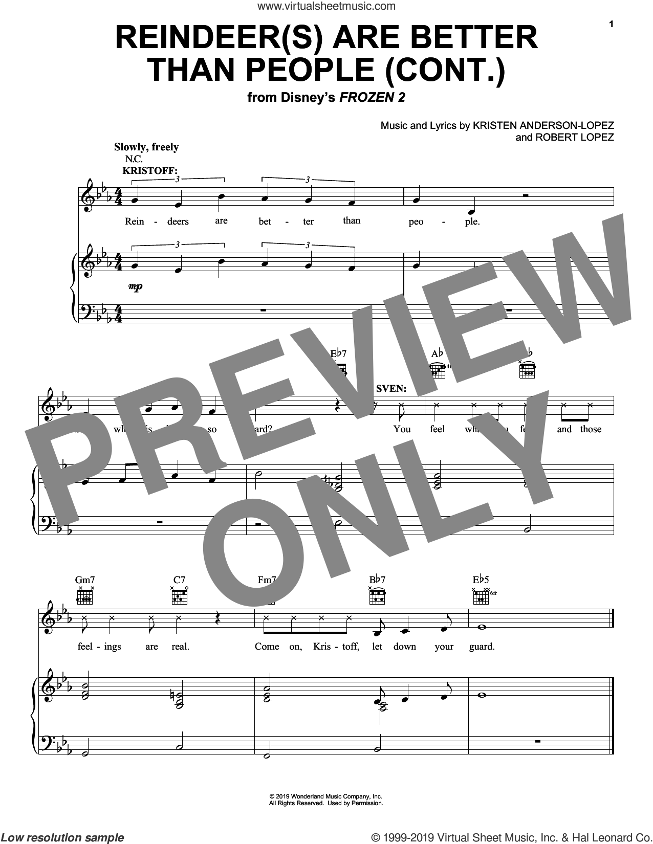 Reindeer(s) Are Better Than People (Cont.) (from Disney's Frozen 2) sheet music for voice, piano or guitar by Jonathan Groff, Kristen Anderson-Lopez and Robert Lopez, intermediate skill level