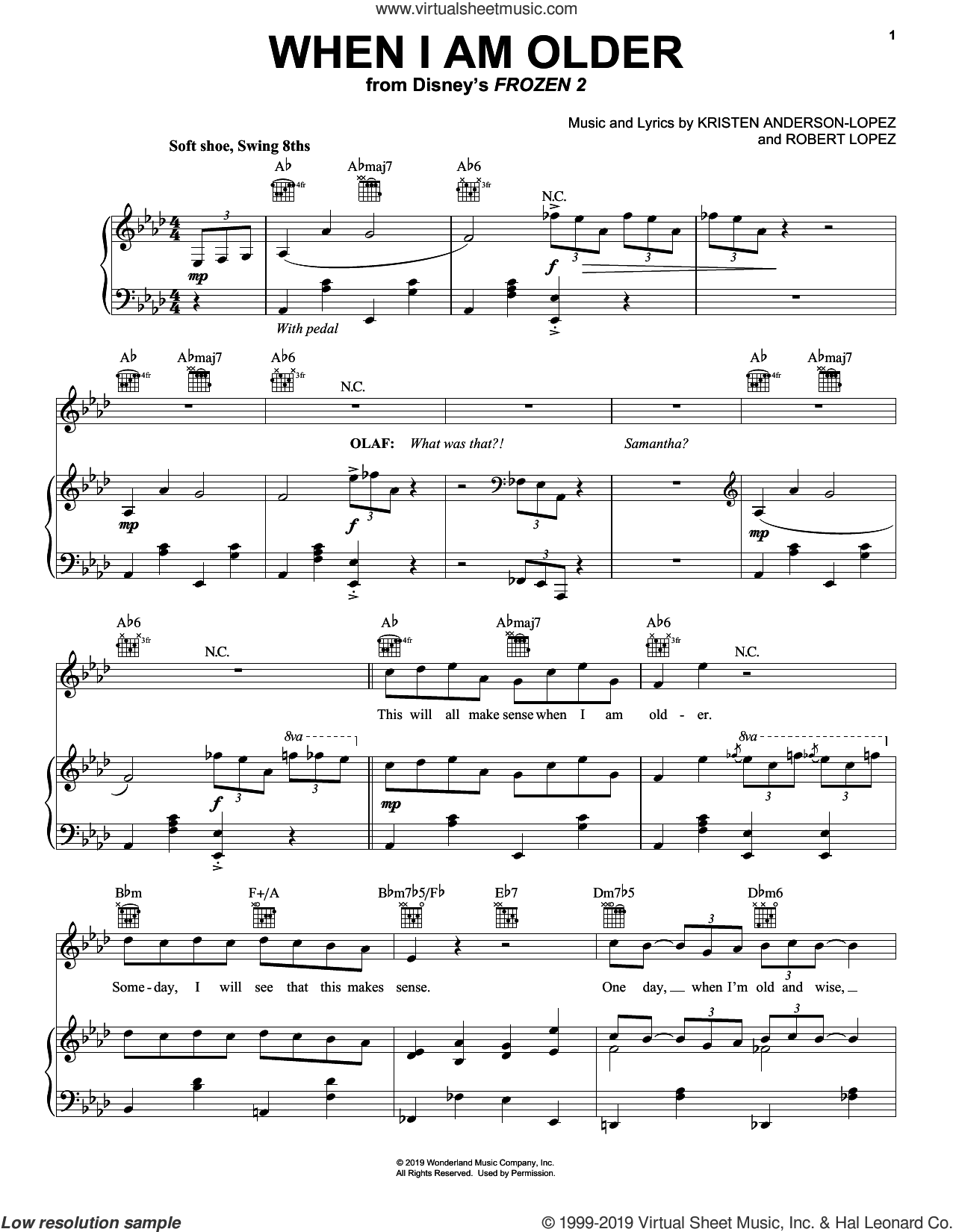 When I Am Older (from Disney's Frozen 2) sheet music for voice, piano or guitar by Josh Gad, Kristen Anderson-Lopez and Robert Lopez, intermediate skill level