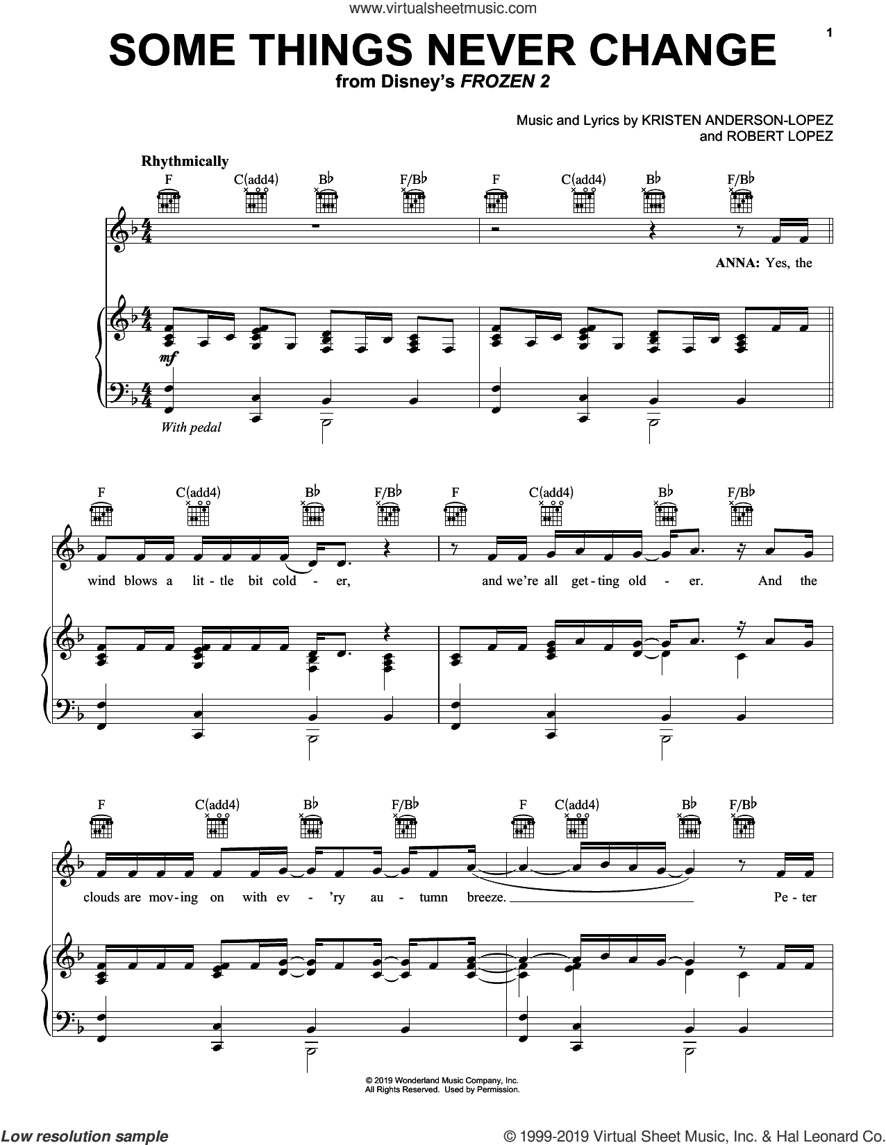 Some Things Never Change (from Disney's Frozen 2) sheet music for voice, piano or guitar by Kristen Bell, Idina Menzel and Cast of Frozen 2, Kristen Anderson-Lopez and Robert Lopez, intermediate skill level