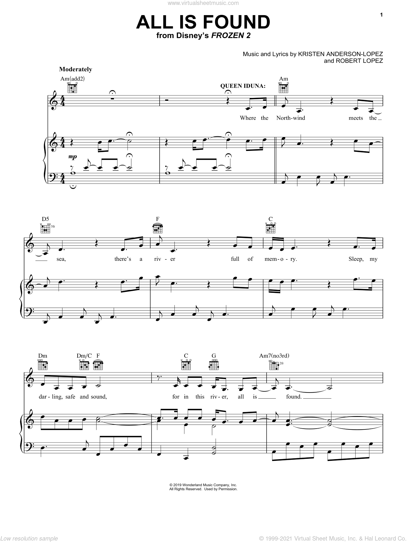All Is Found (from Disney's Frozen 2) sheet music for voice, piano or guitar by Evan Rachel Wood, Kristen Anderson-Lopez and Robert Lopez, intermediate skill level