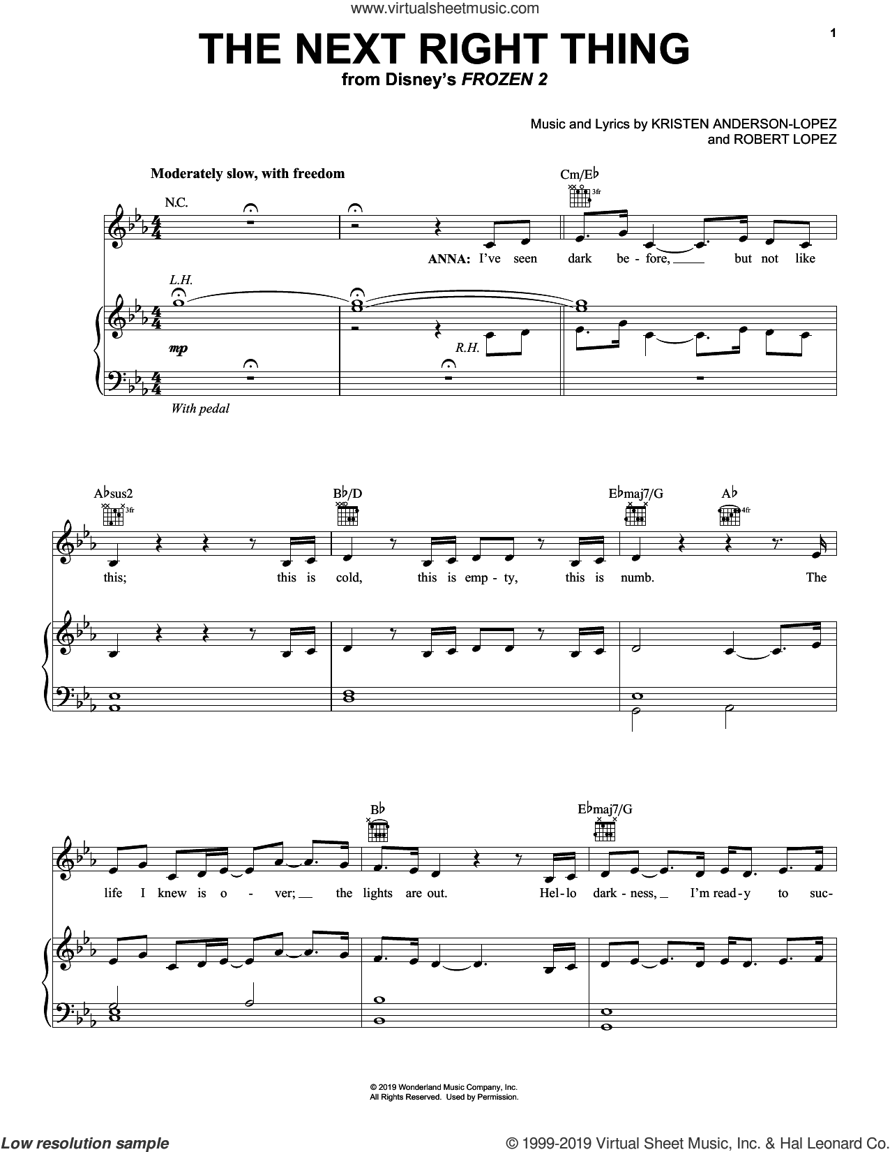 The Next Right Thing (from Disney's Frozen 2) sheet music for voice, piano or guitar by Kristen Bell, Kristen Anderson-Lopez and Robert Lopez, intermediate skill level