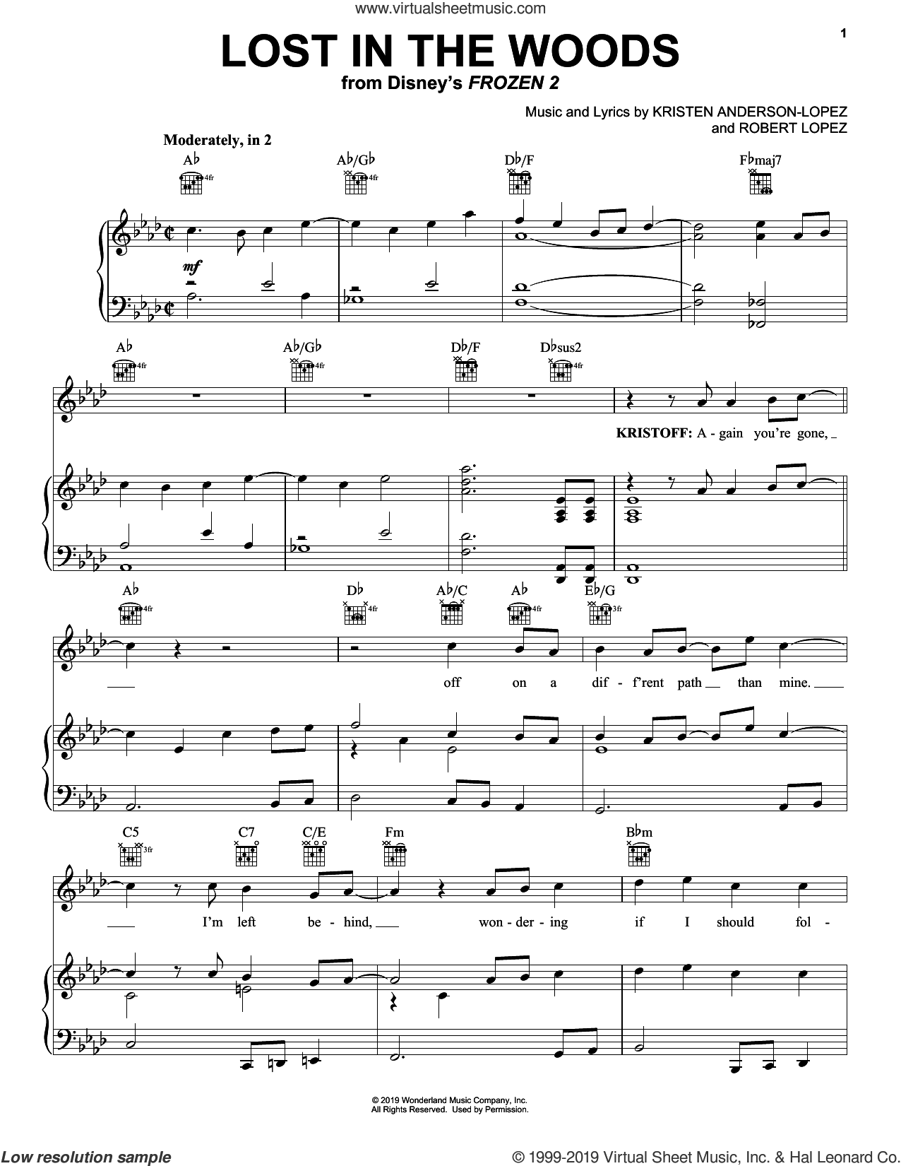 Lost In The Woods (from Disney's Frozen 2) sheet music for voice, piano or guitar by Jonathan Groff, Kristen Anderson-Lopez and Robert Lopez, intermediate skill level