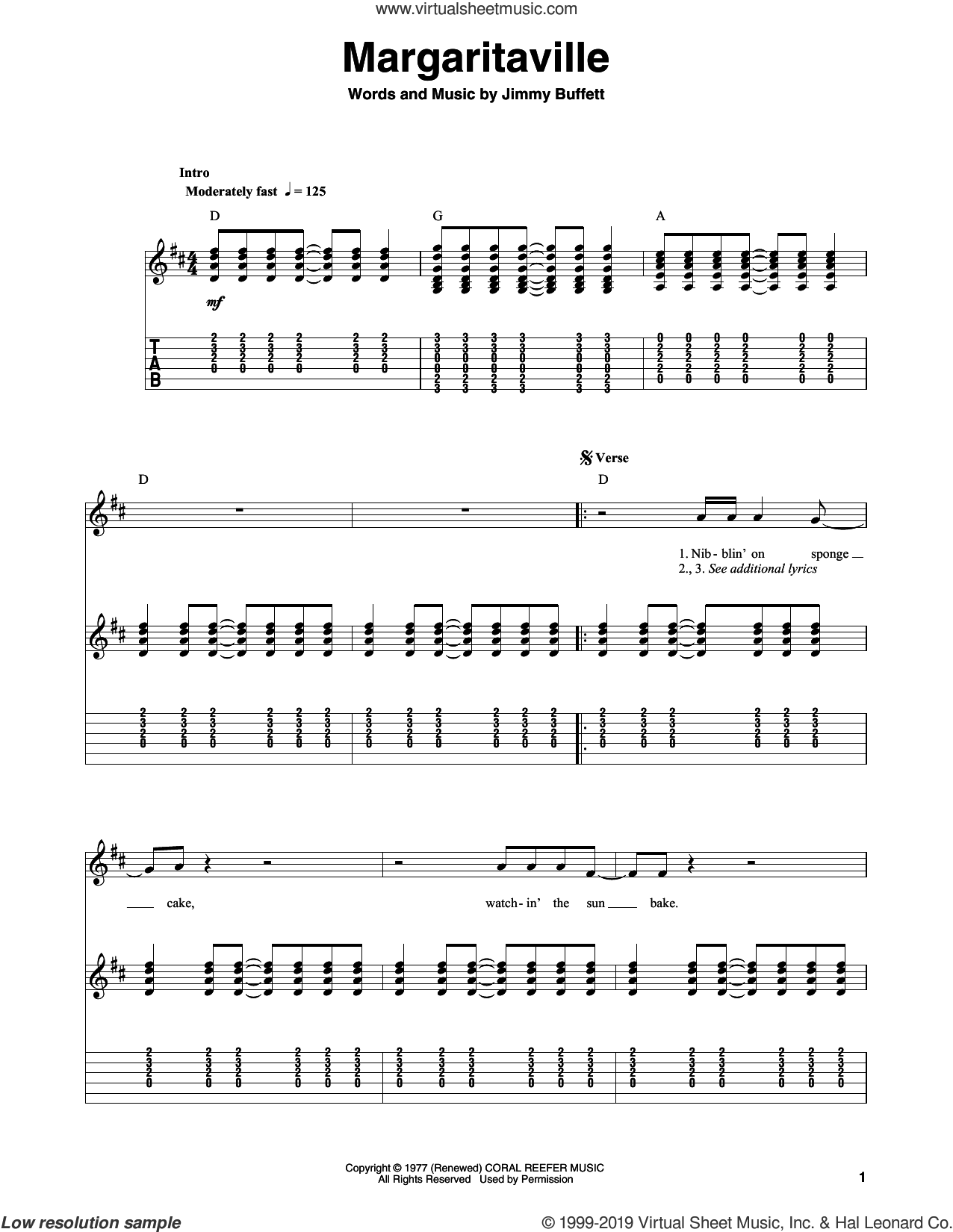 Margaritaville sheet music for guitar (tablature, play-along) by Jimmy Buffett, intermediate skill level