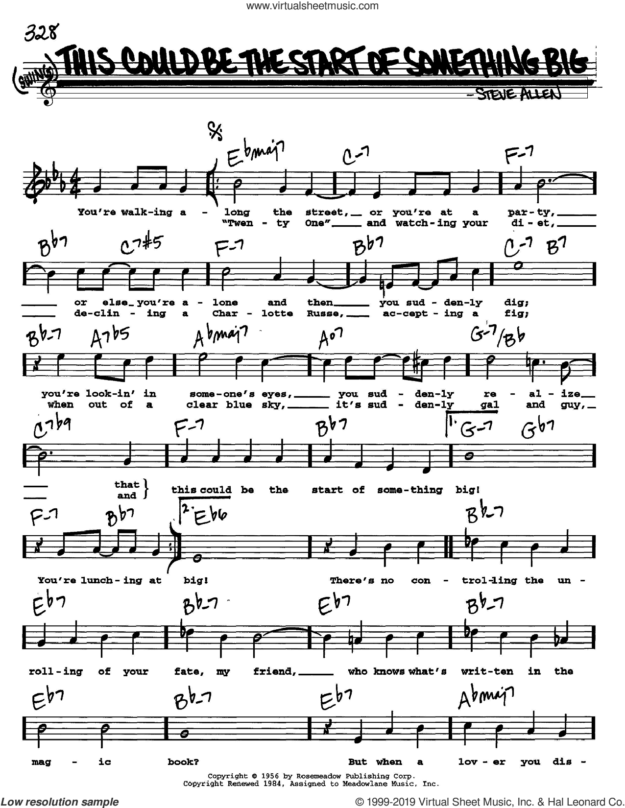 This Could Be The Start Of Something Big sheet music for voice and other instruments  by Steve Allen, intermediate skill level