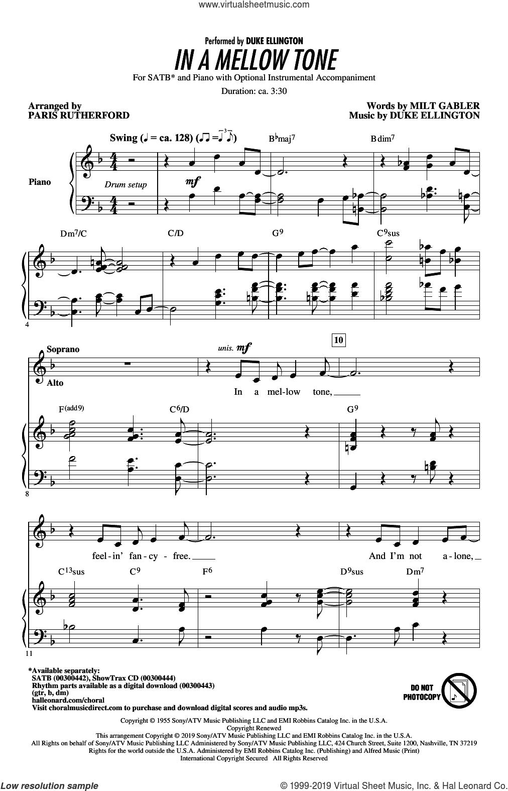 In A Mellow Tone (arr. Paris Rutherford) sheet music for choir (SATB: soprano, alto, tenor, bass) by Duke Ellington, Paris Rutherford and Milt Gabler, intermediate skill level