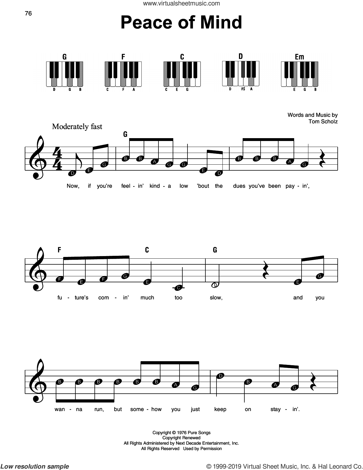 Peace Of Mind sheet music for piano solo by Boston and Tom Scholz, beginner skill level