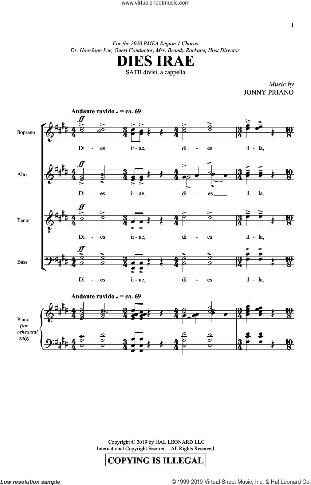 Dies Irae sheet music for choir (SATB: soprano, alto, tenor, bass) by Jonny Priano and Miscellaneous, intermediate skill level