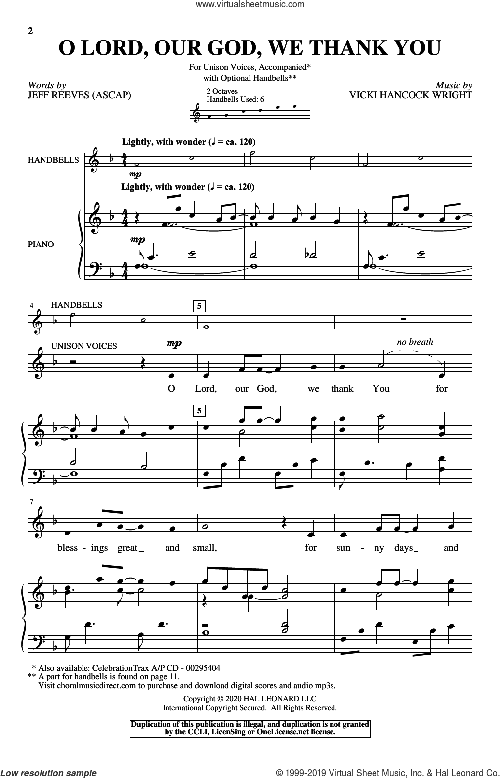 O Lord, Our God, We Thank You sheet music for choir (Unison) by Vicki Hancock Wright, Jeff Reeves and Jeff Reeves and Vicki Hancock Wright, intermediate skill level