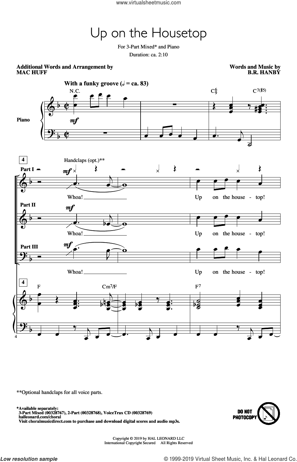 Up On The Housetop (arr. Mac Huff) sheet music for choir (3-Part Mixed) by Benjamin Hanby and Mac Huff, intermediate skill level
