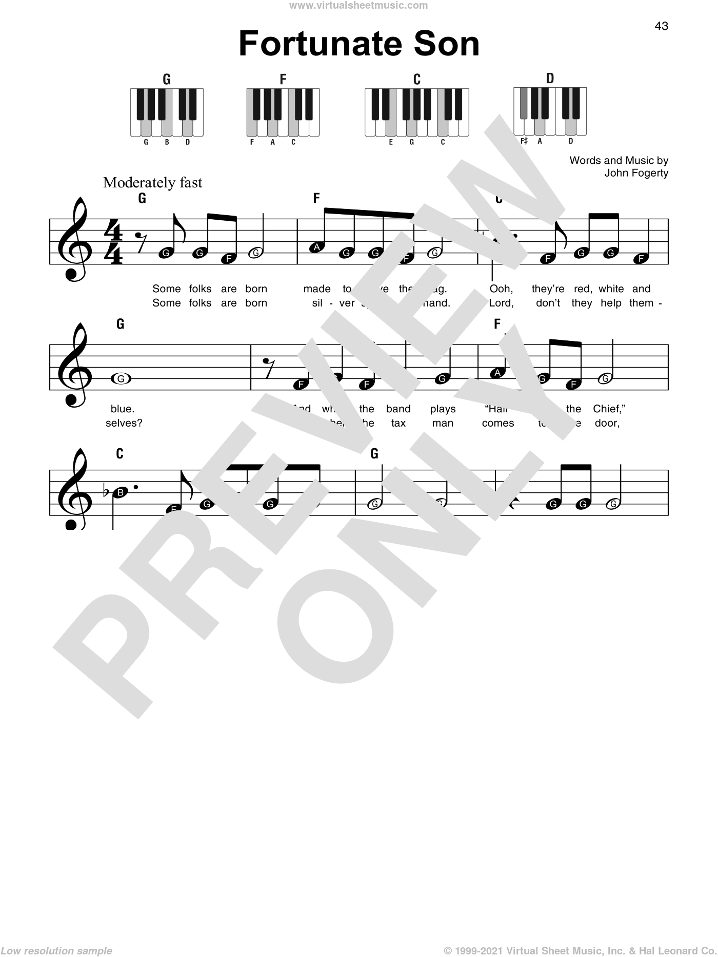 Fortunate Son sheet music for piano solo by Creedence Clearwater Revival and John Fogerty, beginner skill level