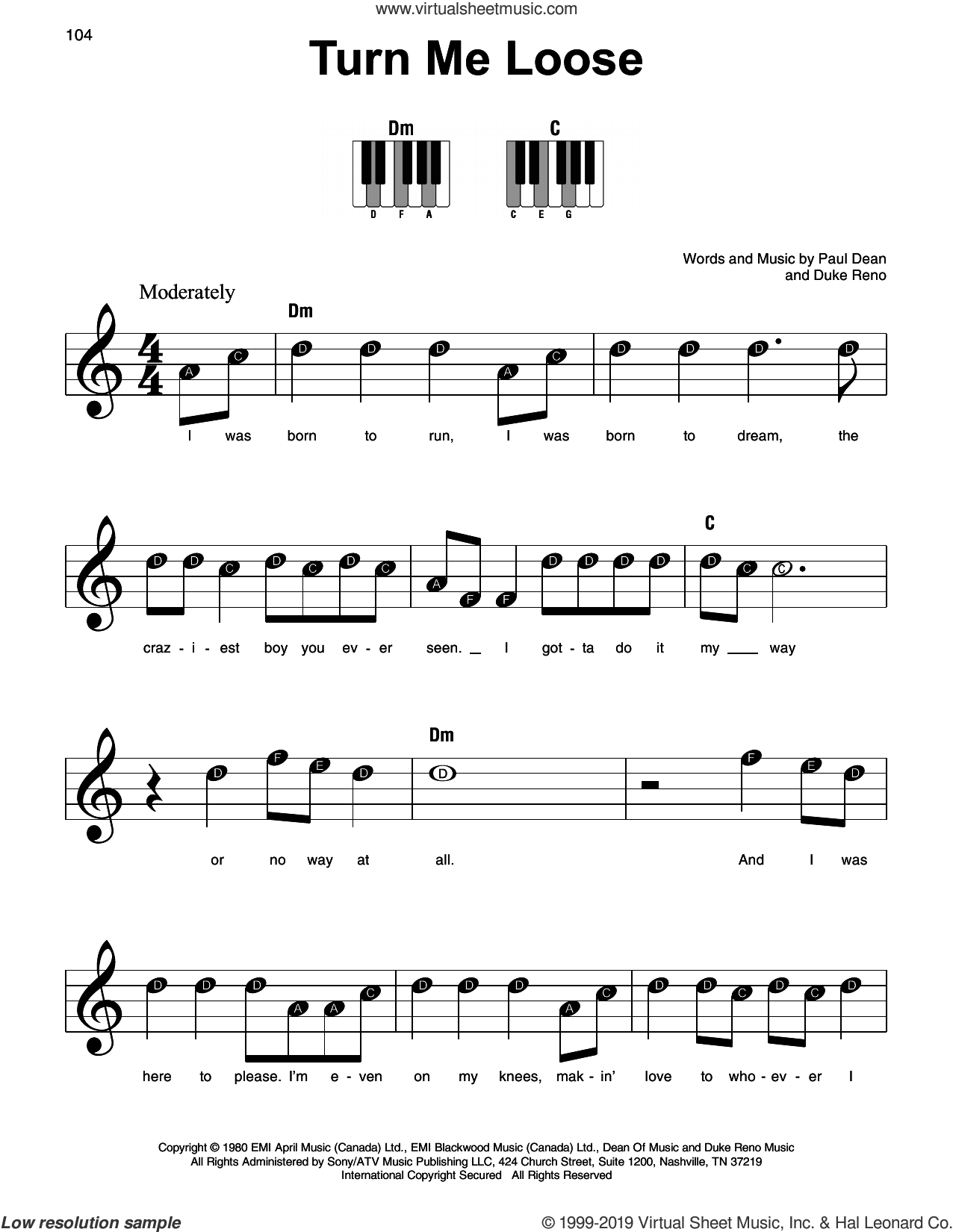 Turn Me Loose sheet music for piano solo by Loverboy, Duke Reno and Paul Dean, beginner skill level