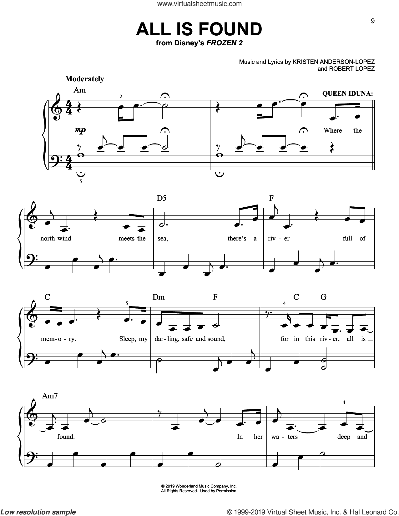 All Is Found (from Disney's Frozen 2) sheet music for piano solo by Evan Rachel Wood, Kristen Anderson-Lopez and Robert Lopez, easy skill level