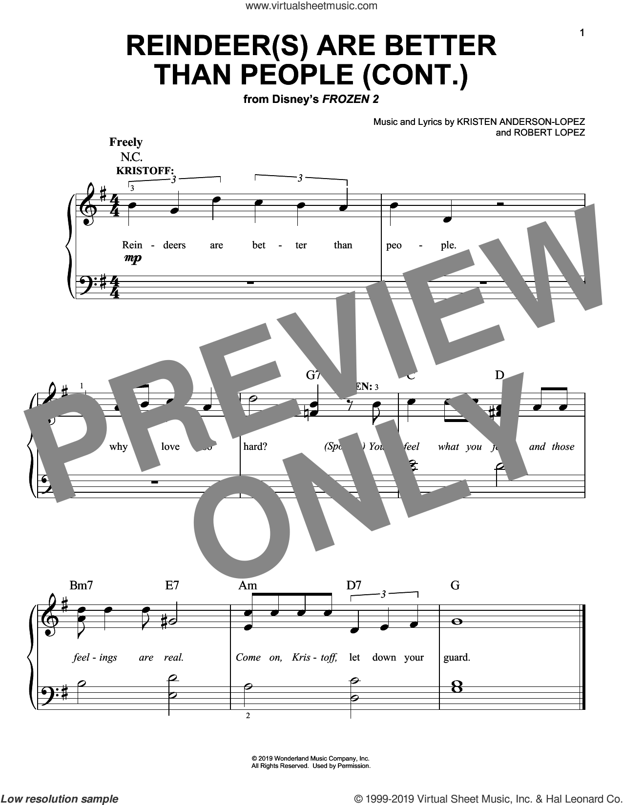 Reindeer(s) Are Better Than People (Cont.) (from Disney's Frozen 2) sheet music for piano solo by Jonathan Groff, Kristen Anderson-Lopez and Robert Lopez, easy skill level