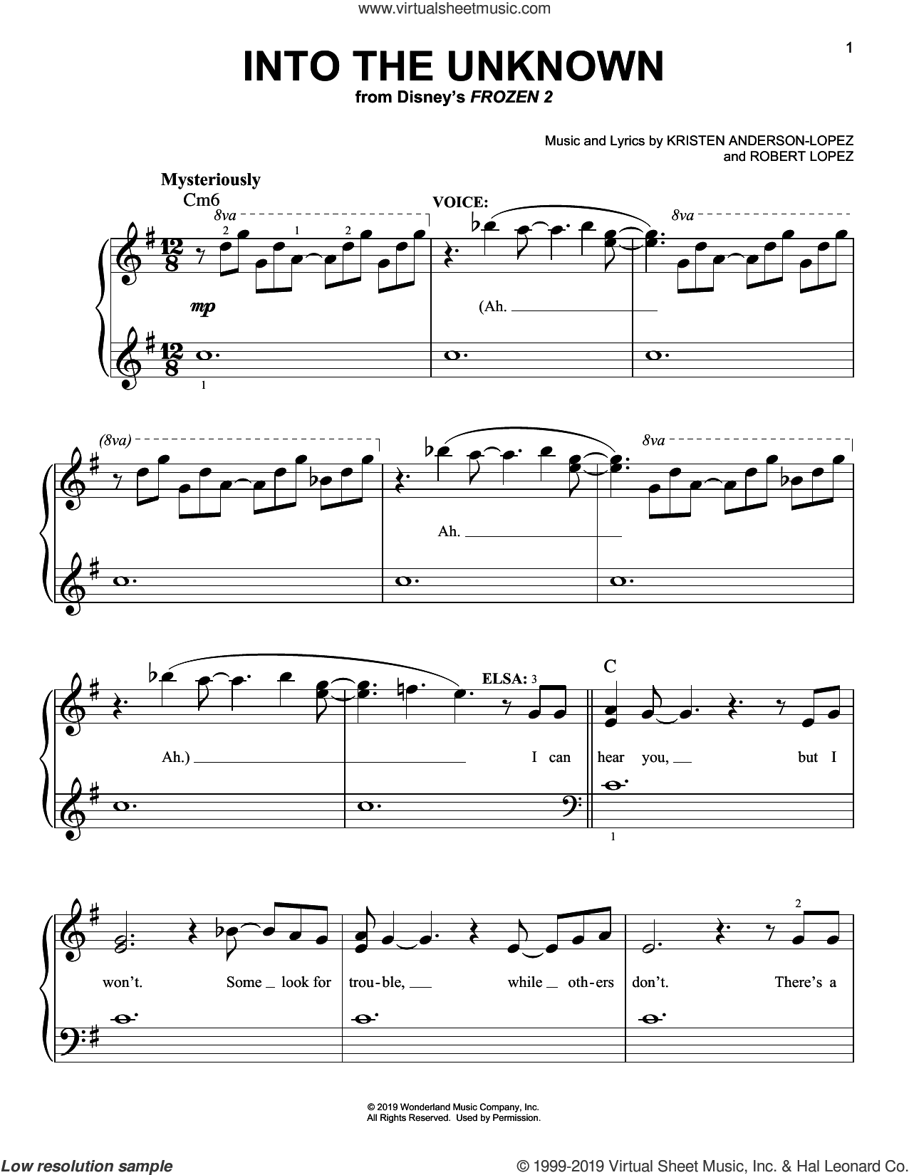 Into The Unknown (from Disney's Frozen 2) sheet music for piano solo by Idina Menzel and AURORA, Kristen Anderson-Lopez and Robert Lopez, easy skill level