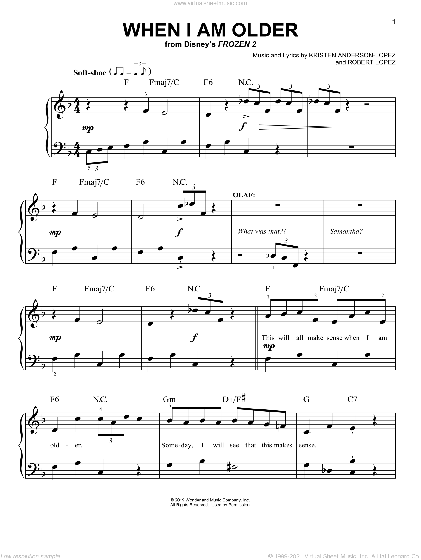 When I Am Older (from Disney's Frozen 2) sheet music for piano solo by Josh Gad, Kristen Anderson-Lopez and Robert Lopez, easy skill level