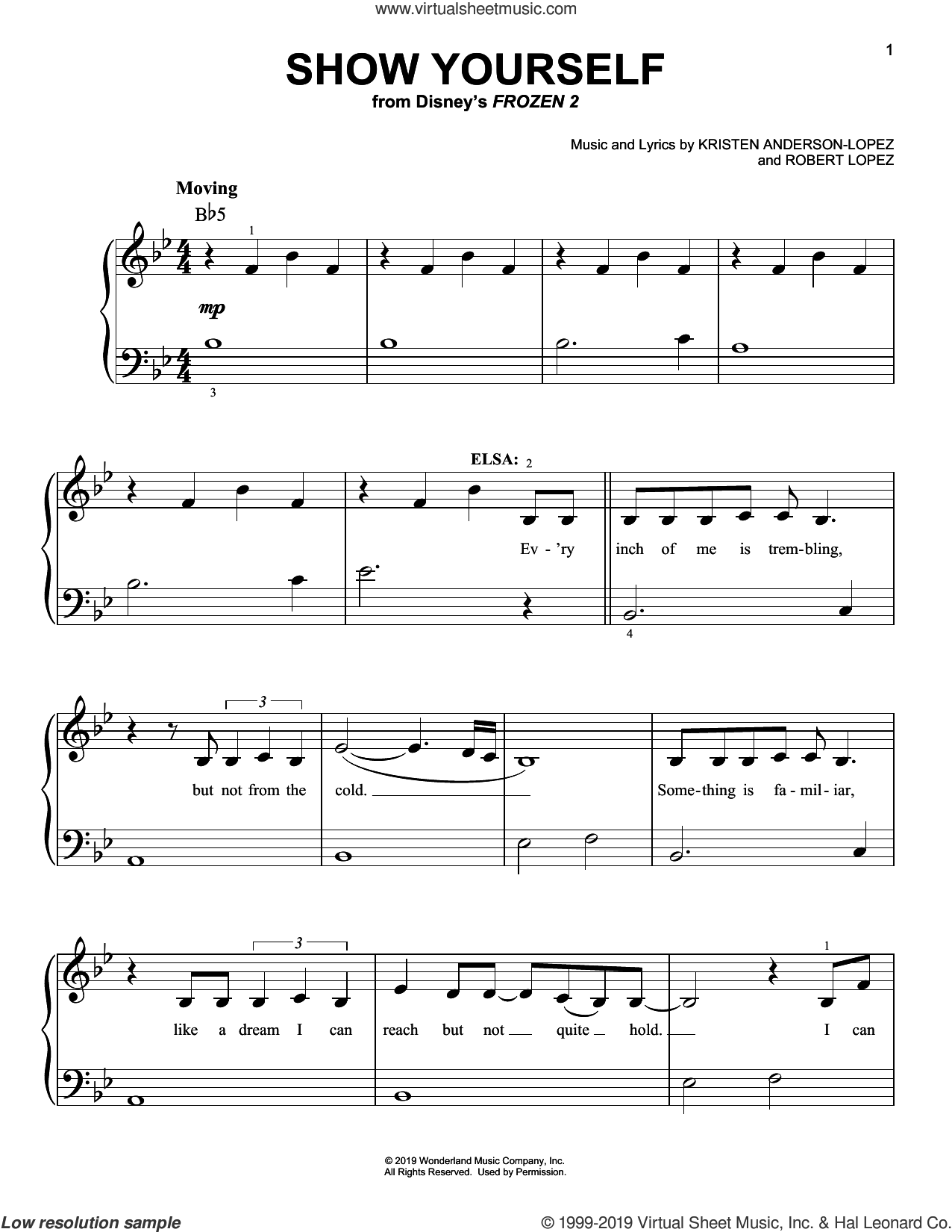Show Yourself (from Disney's Frozen 2) sheet music for piano solo by Idina Menzel and Evan Rachel Wood, Kristen Anderson-Lopez and Robert Lopez, easy skill level