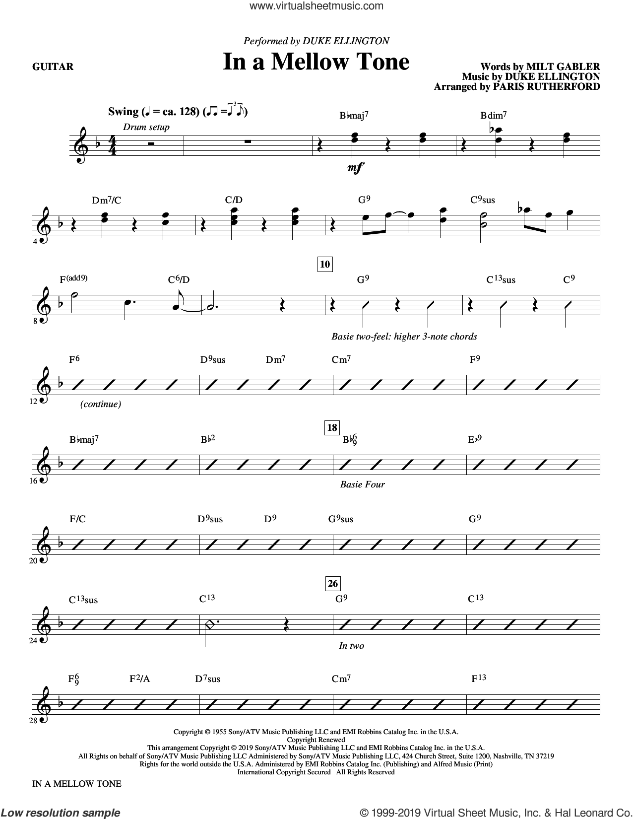 In a Mellow Tone (arr. Paris Rutherford) (complete set of parts) sheet music for orchestra/band by Duke Ellington, Milt Gabler and Paris Rutherford, intermediate skill level