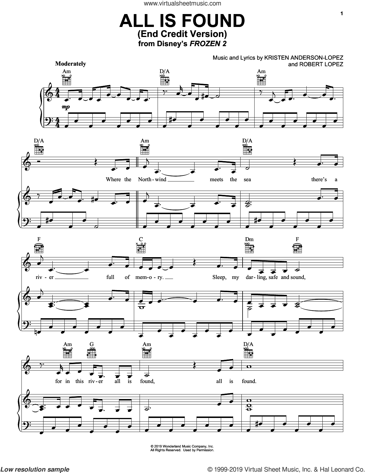 All Is Found (from Disney's Frozen 2) (End Credit Version) sheet music for voice, piano or guitar by Kacey Musgraves, Kristen Anderson-Lopez and Robert Lopez, intermediate skill level