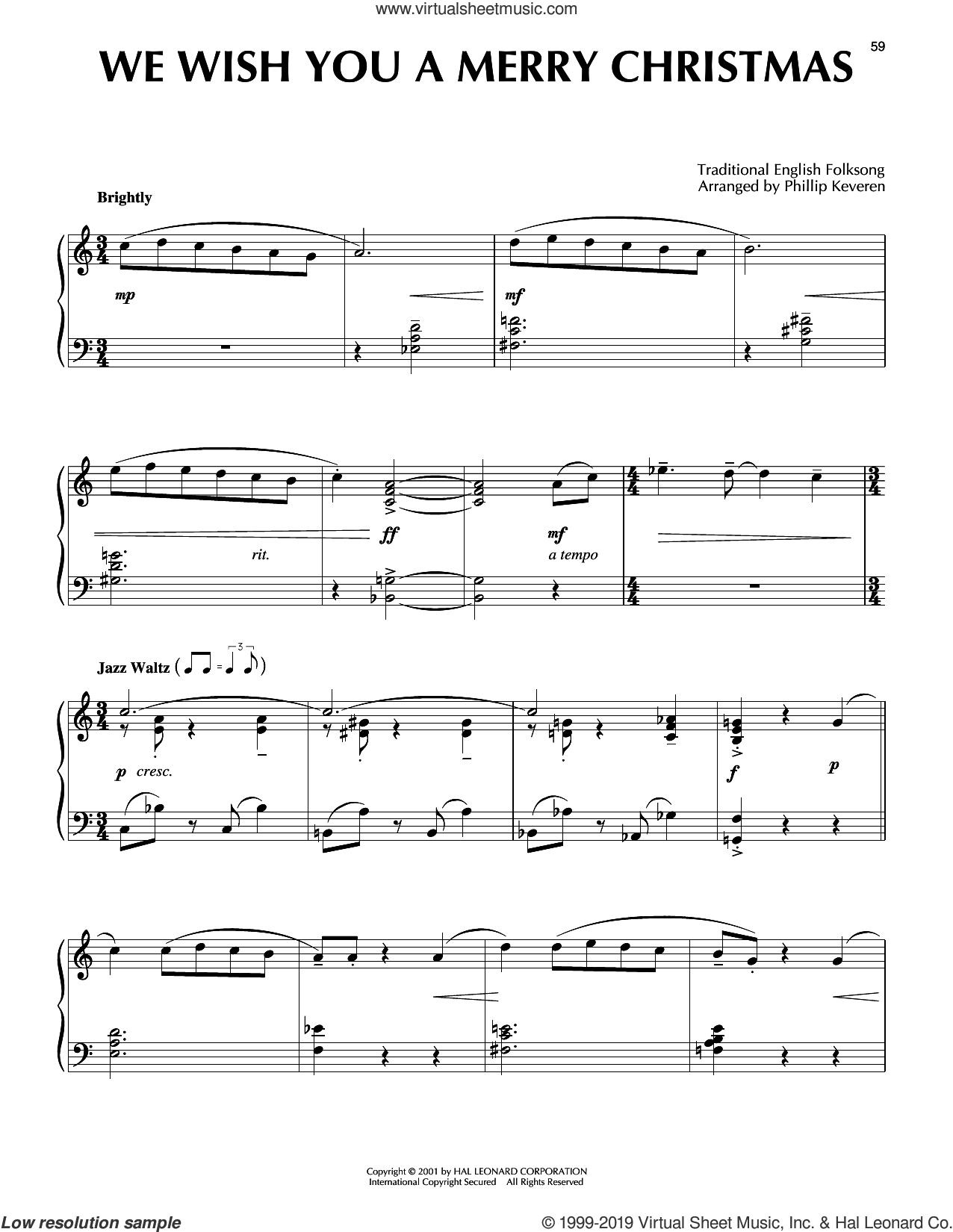 We Wish You A Merry Christmas [Jazz version] (arr. Phillip Keveren) sheet music for piano solo  and Phillip Keveren, intermediate skill level